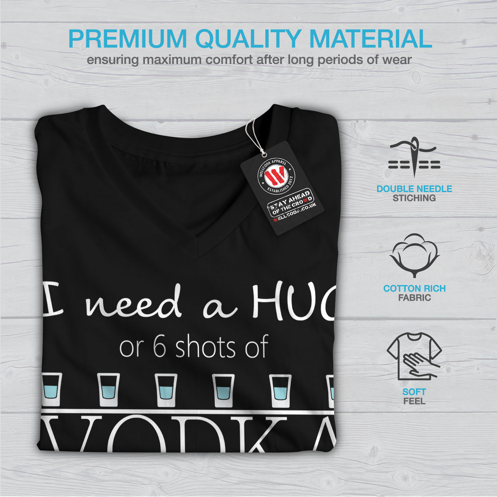 Wellcoda-Calin-ou-haut-femme-Vodka-T-Shirt-col-V-Drole-Citation-Design-Graphique-Tee miniature 5