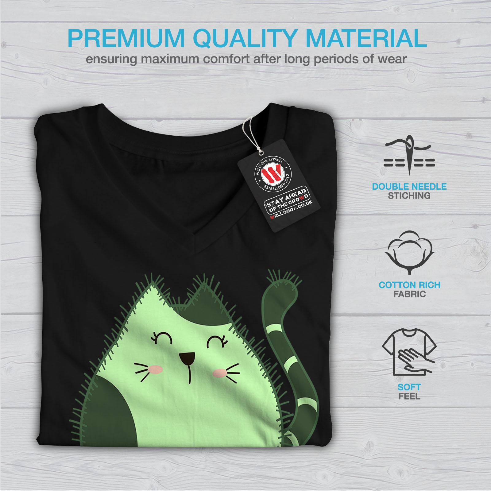 Wellcoda-Cat-Cactus-Womens-V-Neck-T-shirt-Funny-Animal-Graphic-Design-Tee thumbnail 5