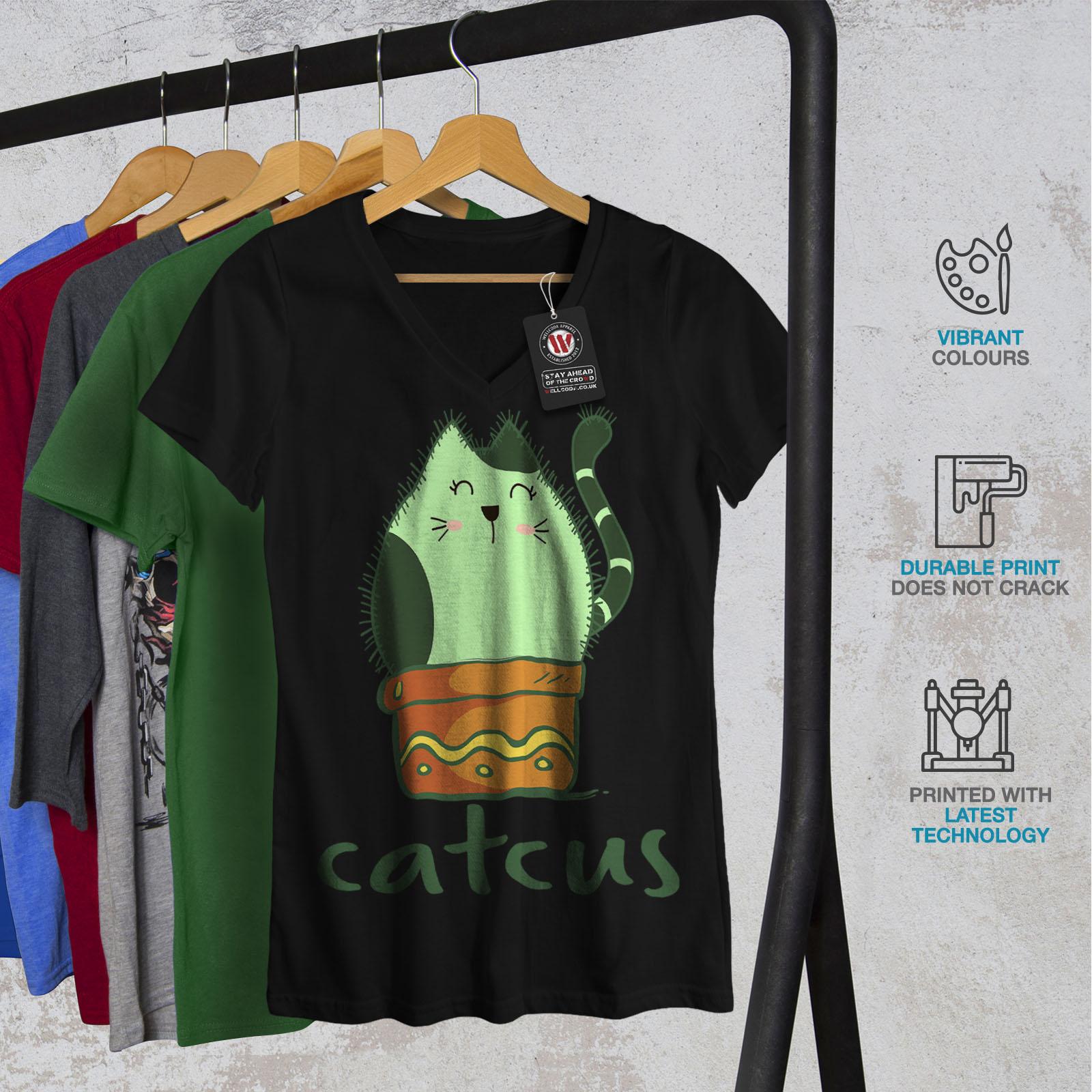Wellcoda-Cat-Cactus-Womens-V-Neck-T-shirt-Funny-Animal-Graphic-Design-Tee thumbnail 4
