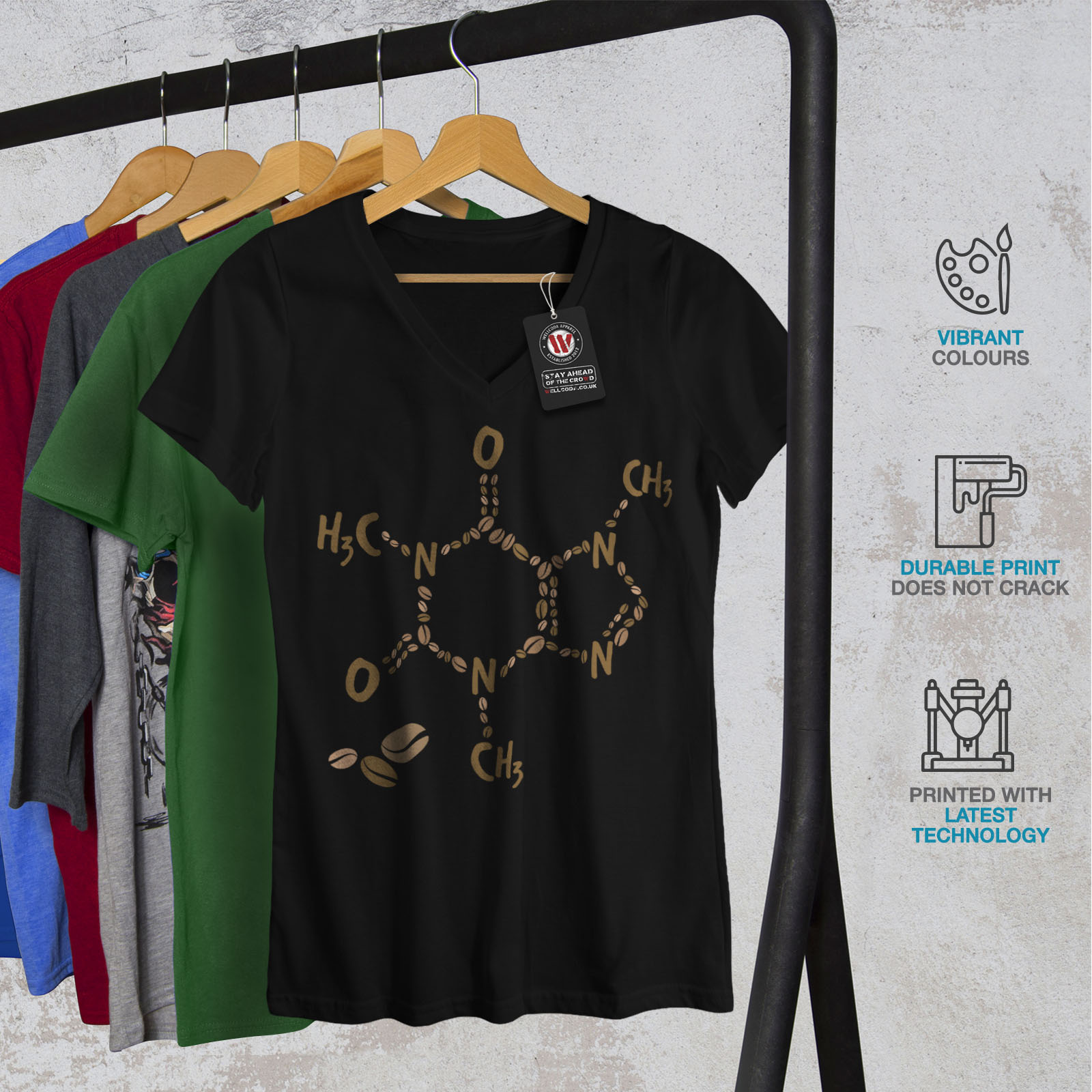 Chemistry Graphic Design Tee Wellcoda Coffee Formula Womens V-Neck T-shirt