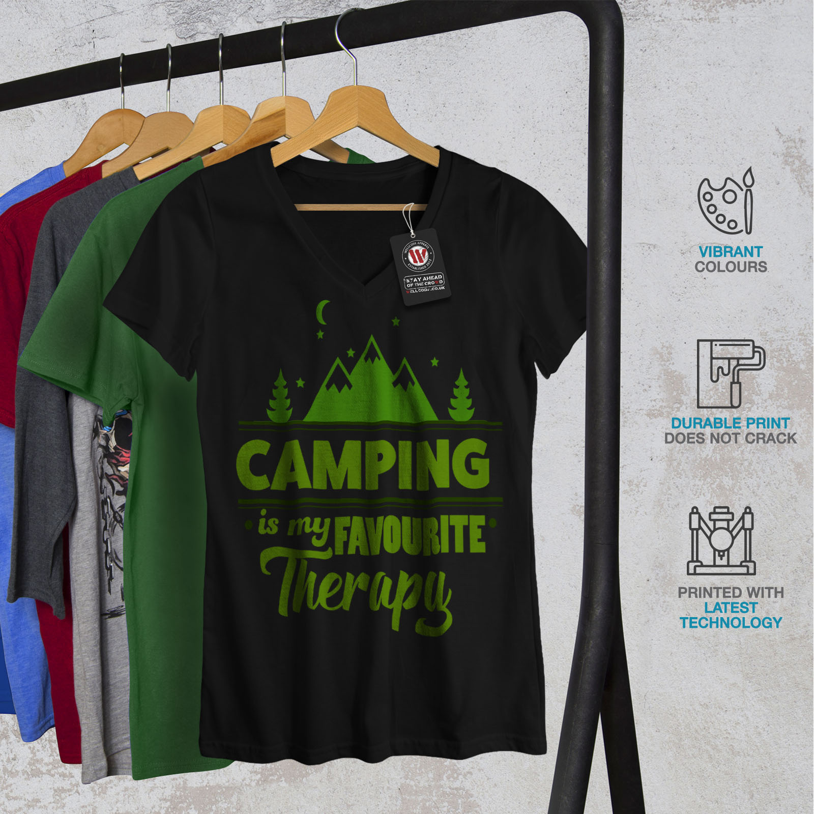 Wellcoda-Camping-Therapy-Womens-V-Neck-T-shirt-Outdoor-Graphic-Design-Tee thumbnail 4