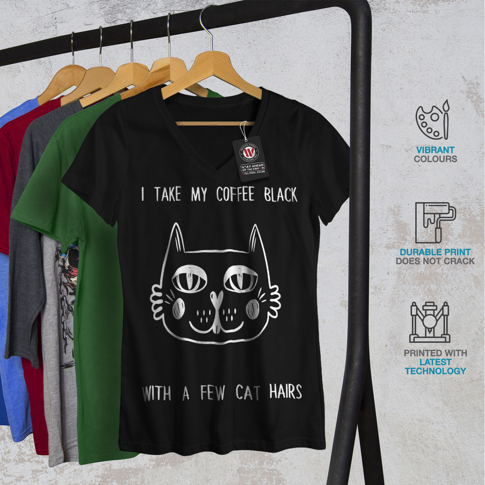 55aba3ee Wellcoda Cat Love Womens V-Neck T-shirt, Adorable Animal Graphic ...
