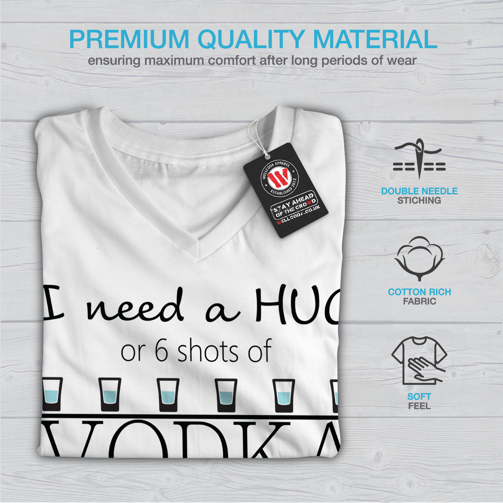 Wellcoda-Calin-ou-haut-femme-Vodka-T-Shirt-col-V-Drole-Citation-Design-Graphique-Tee miniature 9