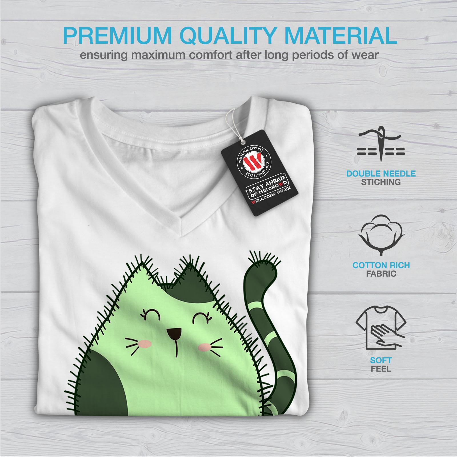 Wellcoda-Cat-Cactus-Womens-V-Neck-T-shirt-Funny-Animal-Graphic-Design-Tee thumbnail 9