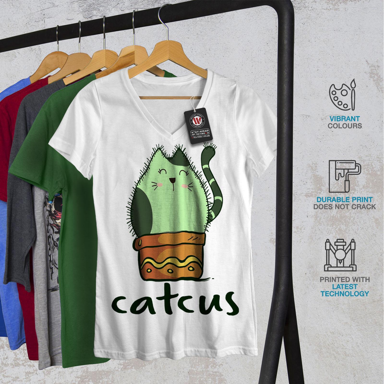 Wellcoda-Cat-Cactus-Womens-V-Neck-T-shirt-Funny-Animal-Graphic-Design-Tee thumbnail 8