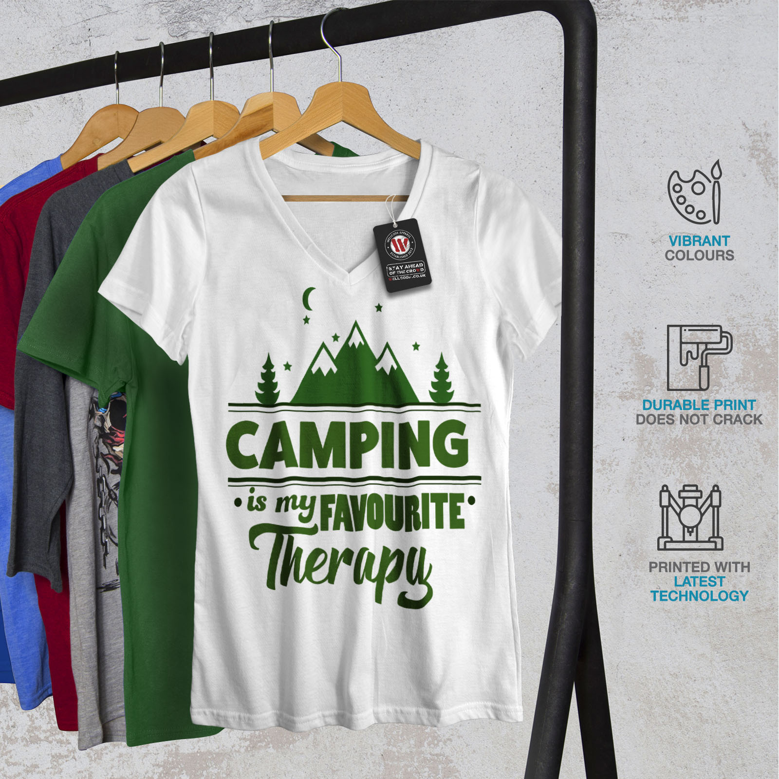 Wellcoda-Camping-Therapy-Womens-V-Neck-T-shirt-Outdoor-Graphic-Design-Tee thumbnail 8