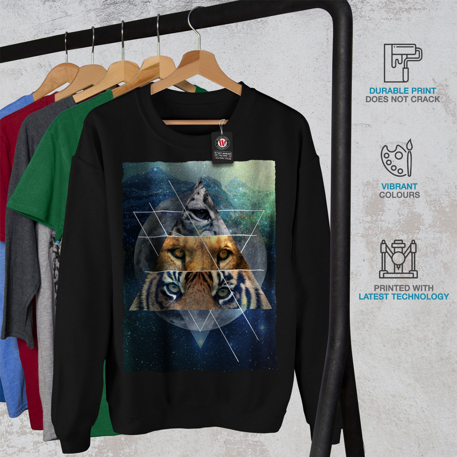 Lion Casual Cat Fashion Felpa Tiger Wellcoda Uomo Nero Pullover B7anWZf