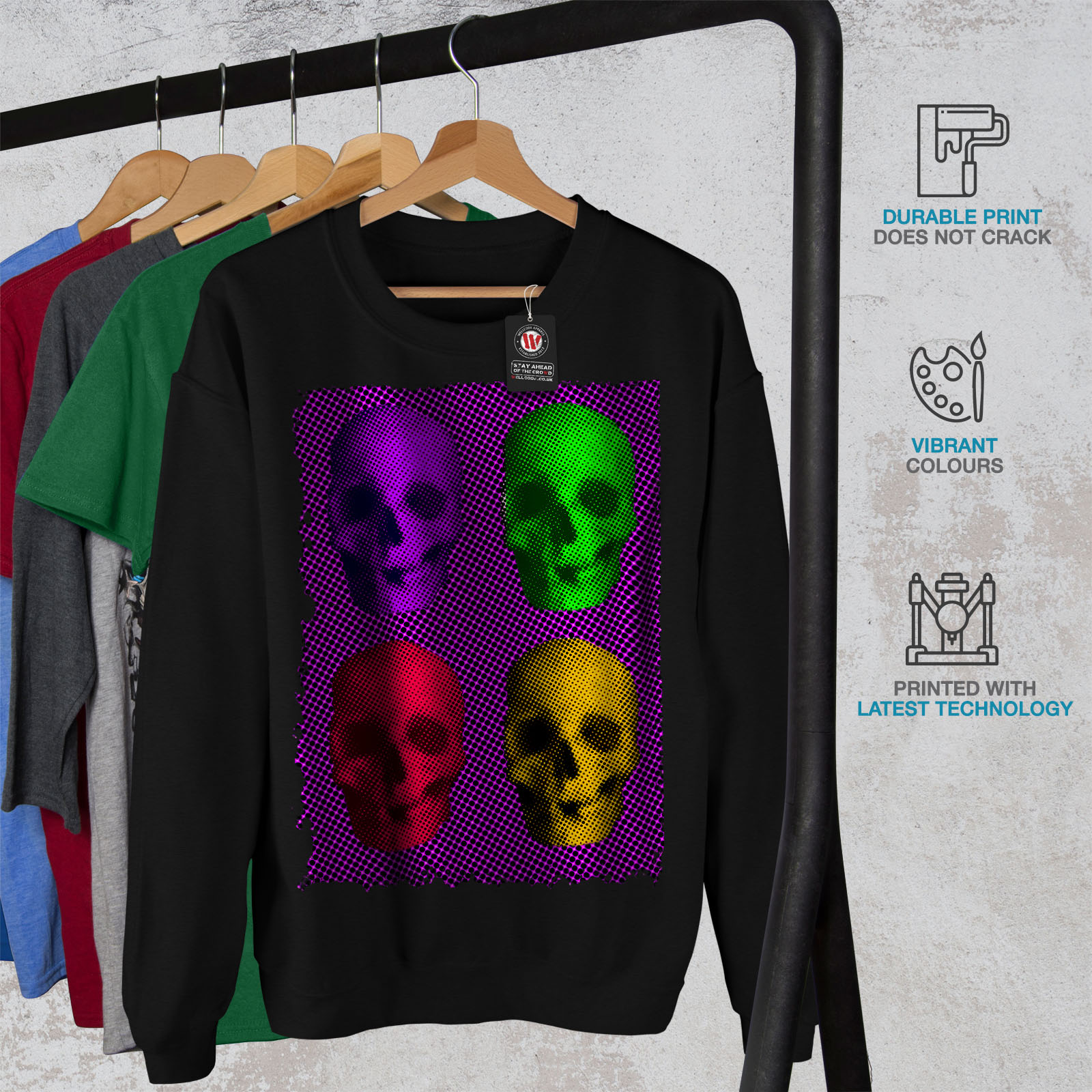 Colorful Black Mens Jumper Wellcoda War Skull Pullover Sweatshirt Skeleton Casual BWqHHCxPUn