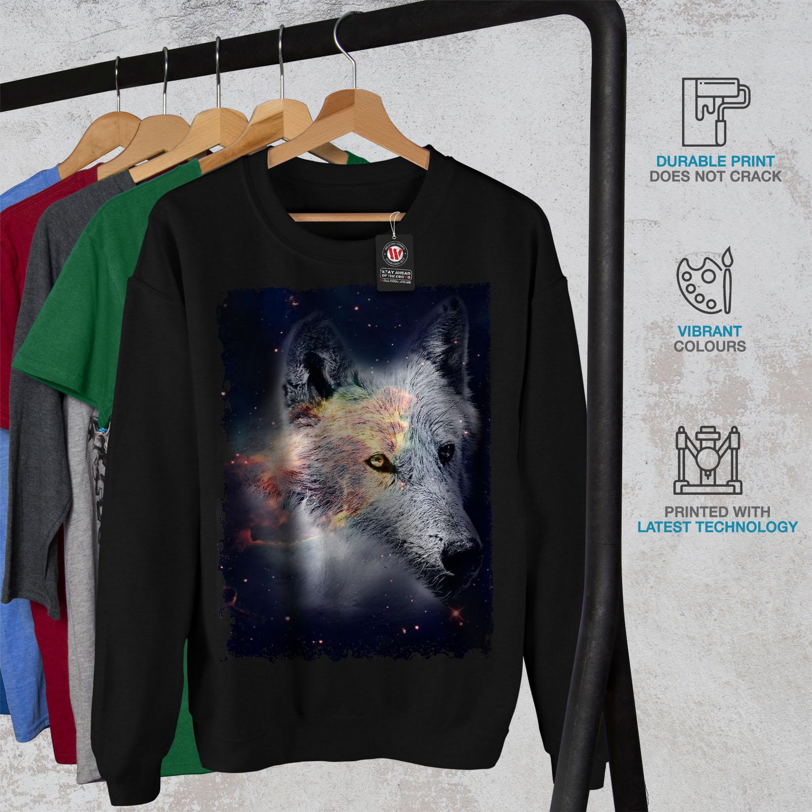 Wolf Wellcoda Sweatshirt Galaxy Jumper Pullover Black In Casual Mens Face Space AdRBxFR