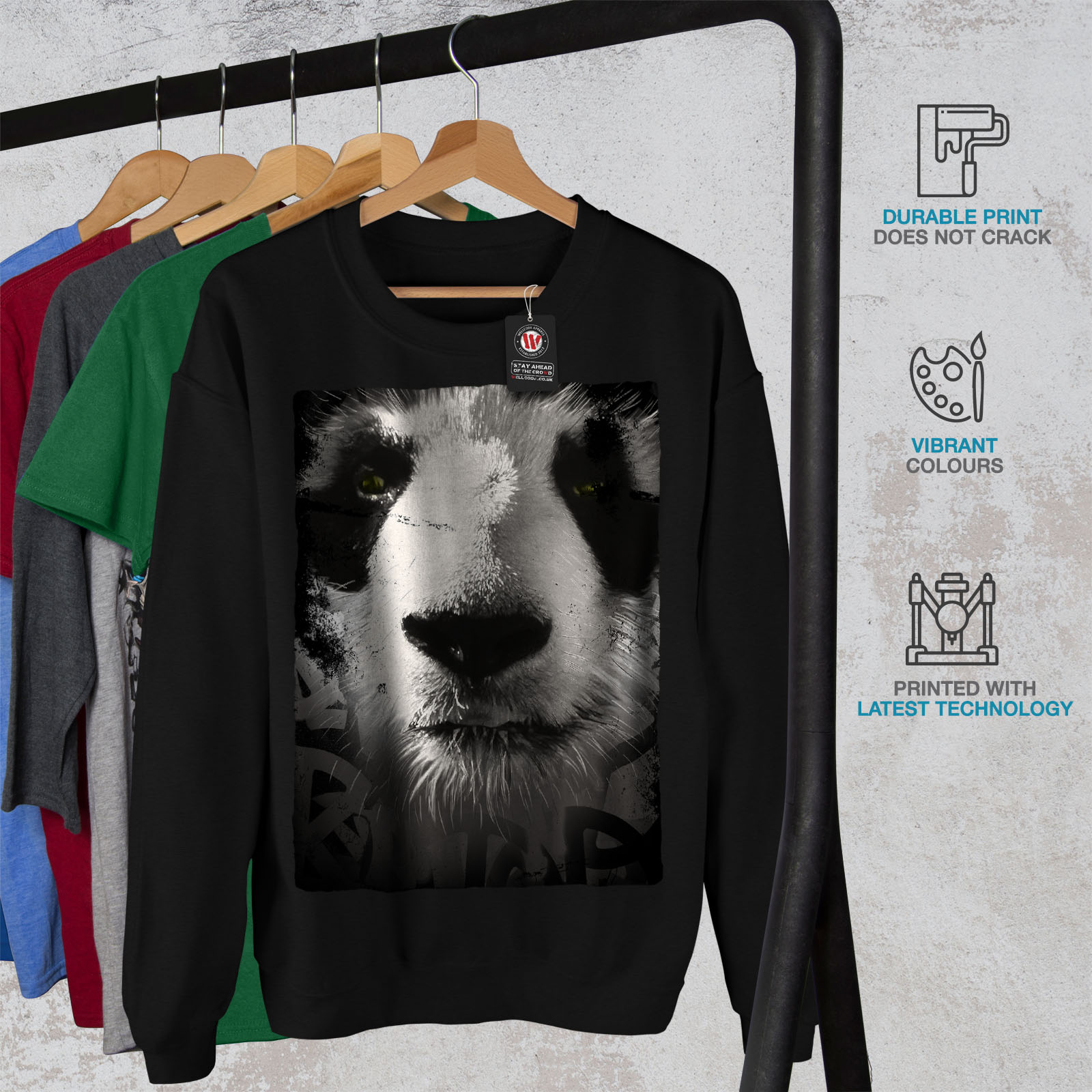 Wellcoda Cute Casual SweatshirtBella Panda Face Jumper Black Pullover KTlJcF1