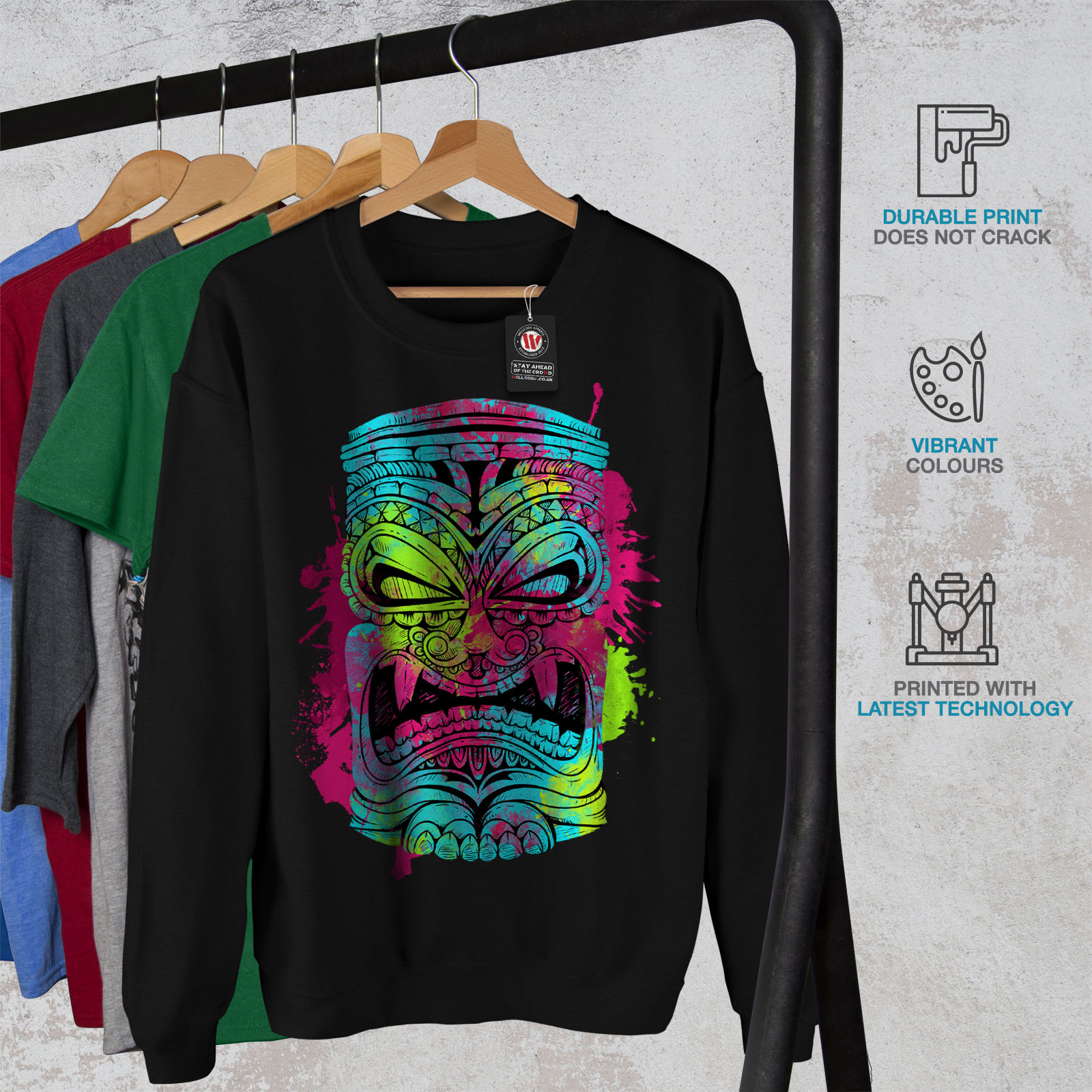Wellcoda Psychedelic Cool Mens Sweatshirt Masking Casual Pullover Jumper
