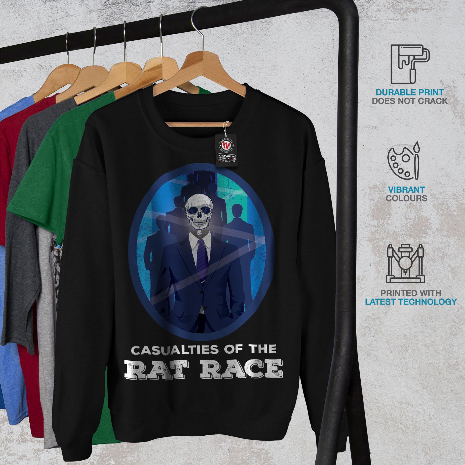 Pullover de Noir Sweat hommesZombies Wellcoda Race Jumper Rat pour shirt nk0wOP