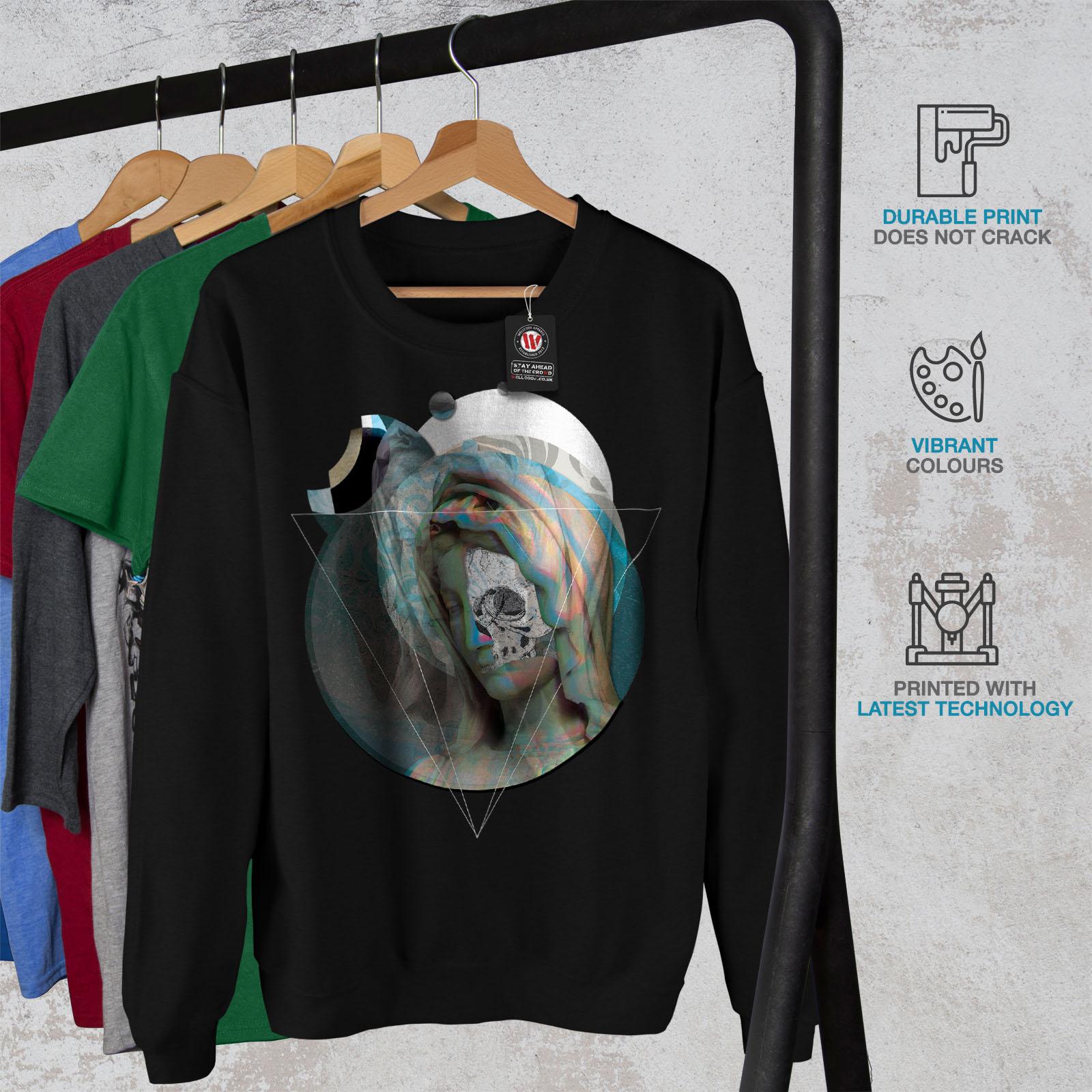 Wellcoda nero pullover fantastico Mystic Arts Sweatshirt maglione Skull casual Mens AwrTqxAn