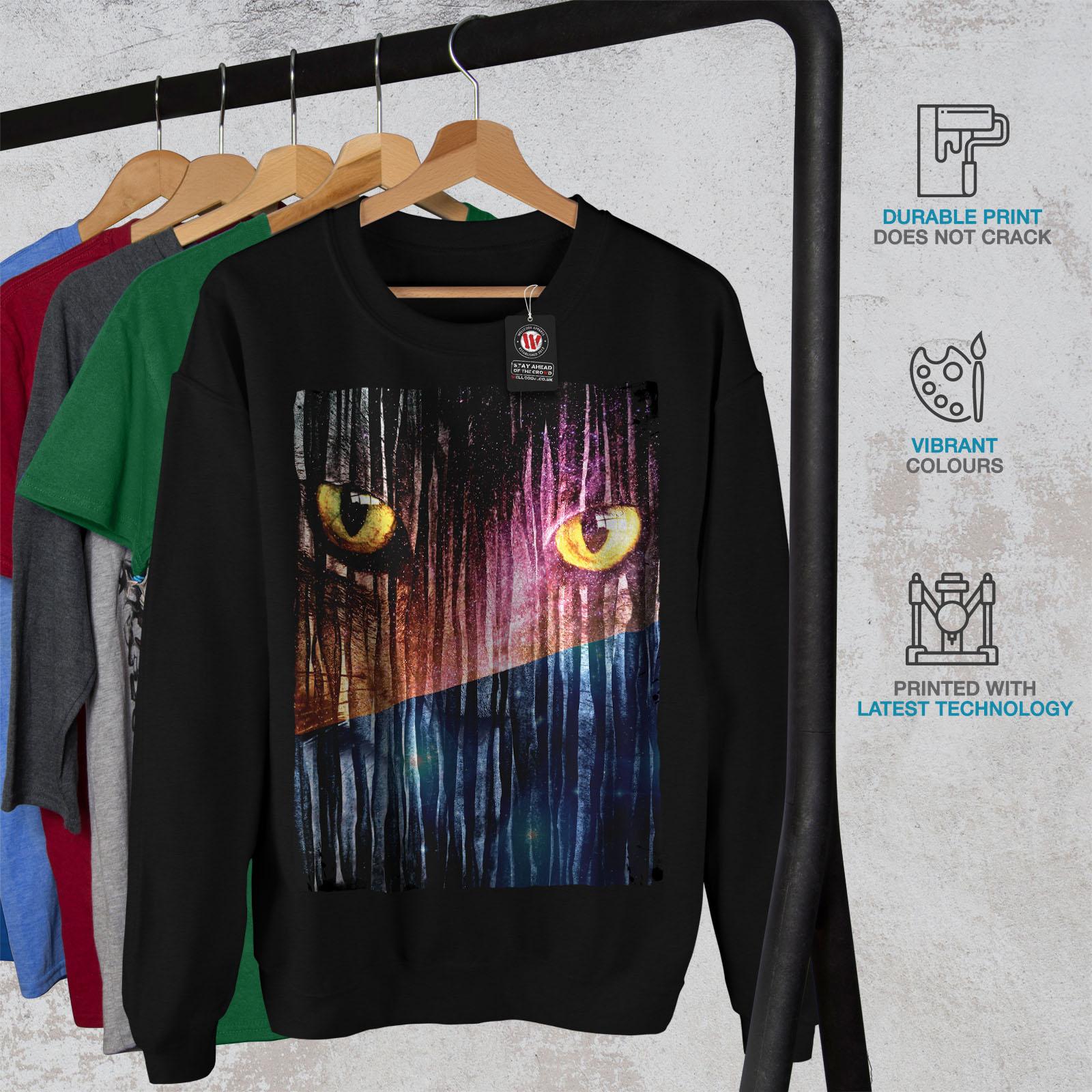 Casual Animal Black Galaxy Fantasy da Wellcoda Felpa Eyes Pullover Jumper uomo xngZqn07
