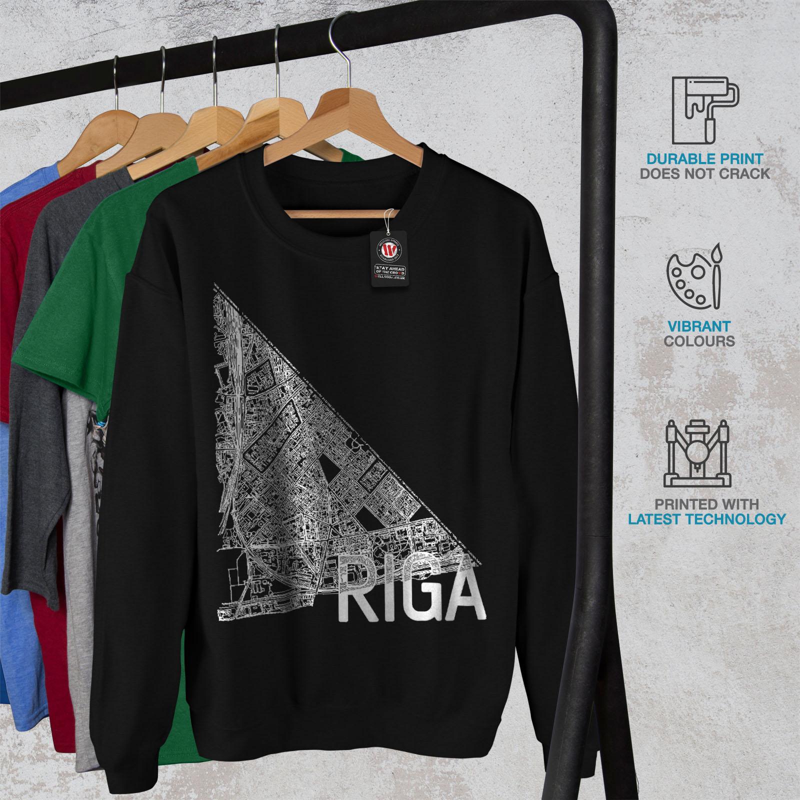 Sweatshirt Hommes Map Noir Riga City Mode Nouveau rdsQCxht