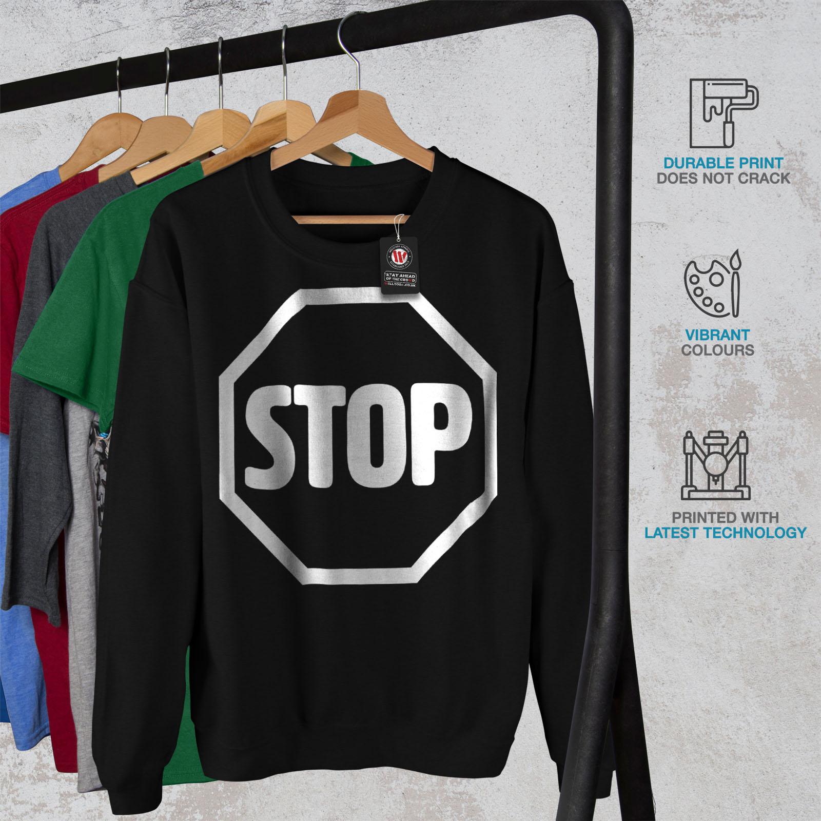 Wellcoda Felpa Uomo Sign Fashion Stop Nero Pullover Road Casual 1RwqRf