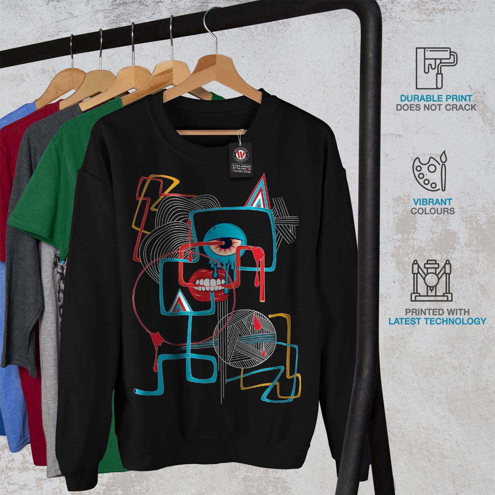 dᄄᆭcontractᄄᆭdr Wellcoda Hommes Eye le Geometrical noir pull Fashion sweatshirtpull clJK1F