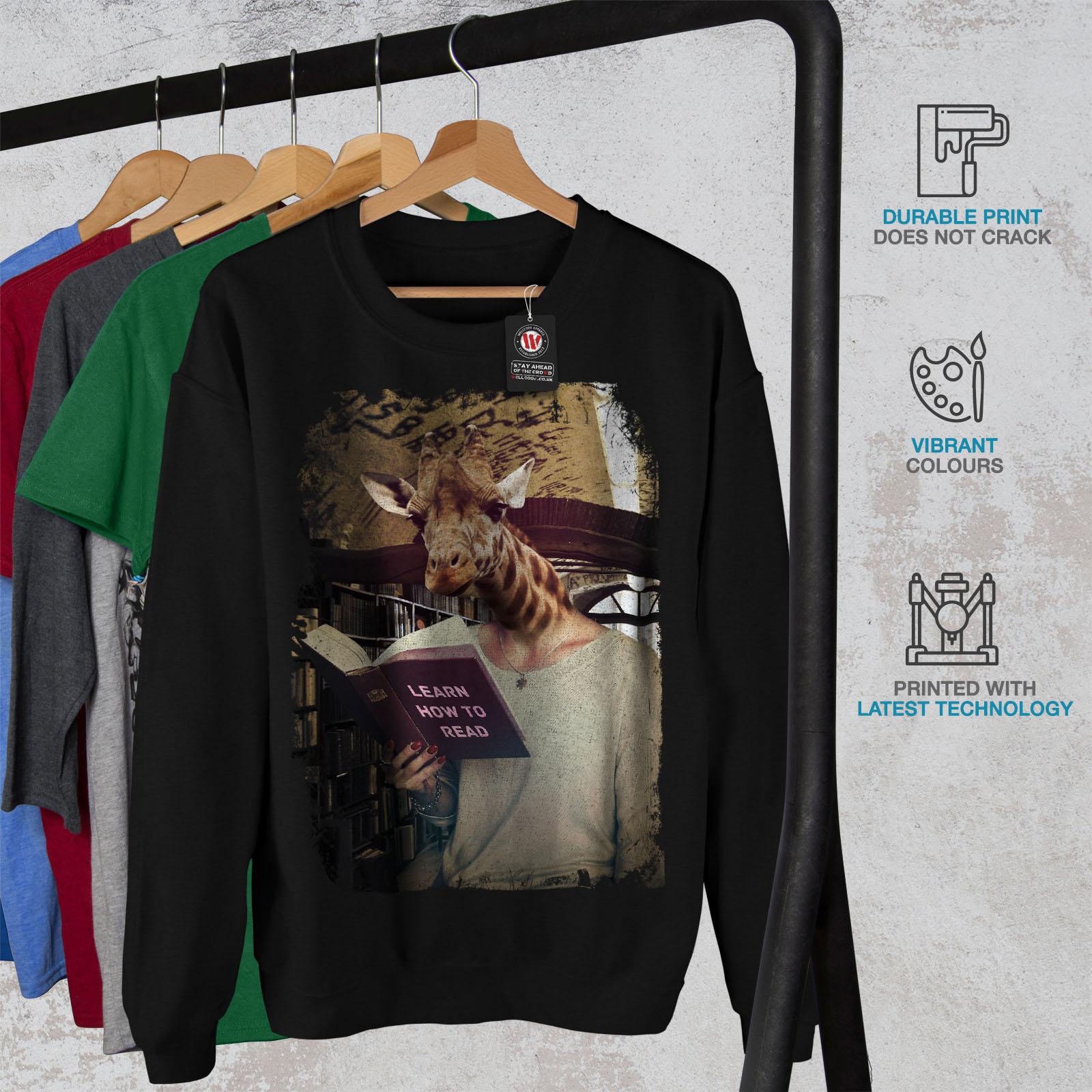 Animal Mens casual Pullover Wellcoda Geek Sweatshirt Giraffe nero Pullover xHpOqE