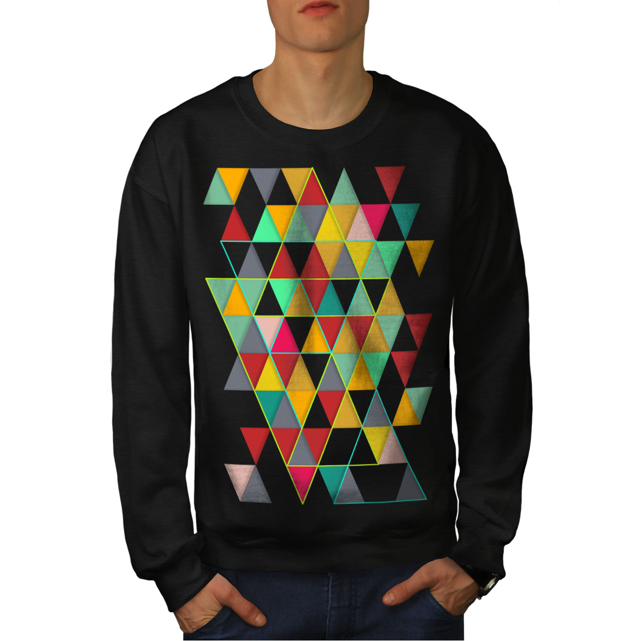 Wellcoda Geometric Stylish Womens Sweatshirt Abstract Casual Pullover Jumper
