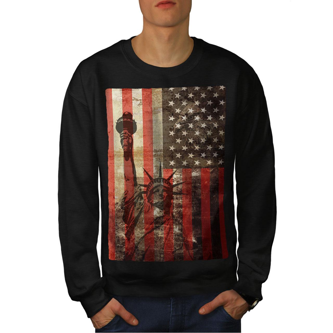 Wellcoda New York Flag Freedom Mens Contrast Hoodie Tourism Casual Jumper