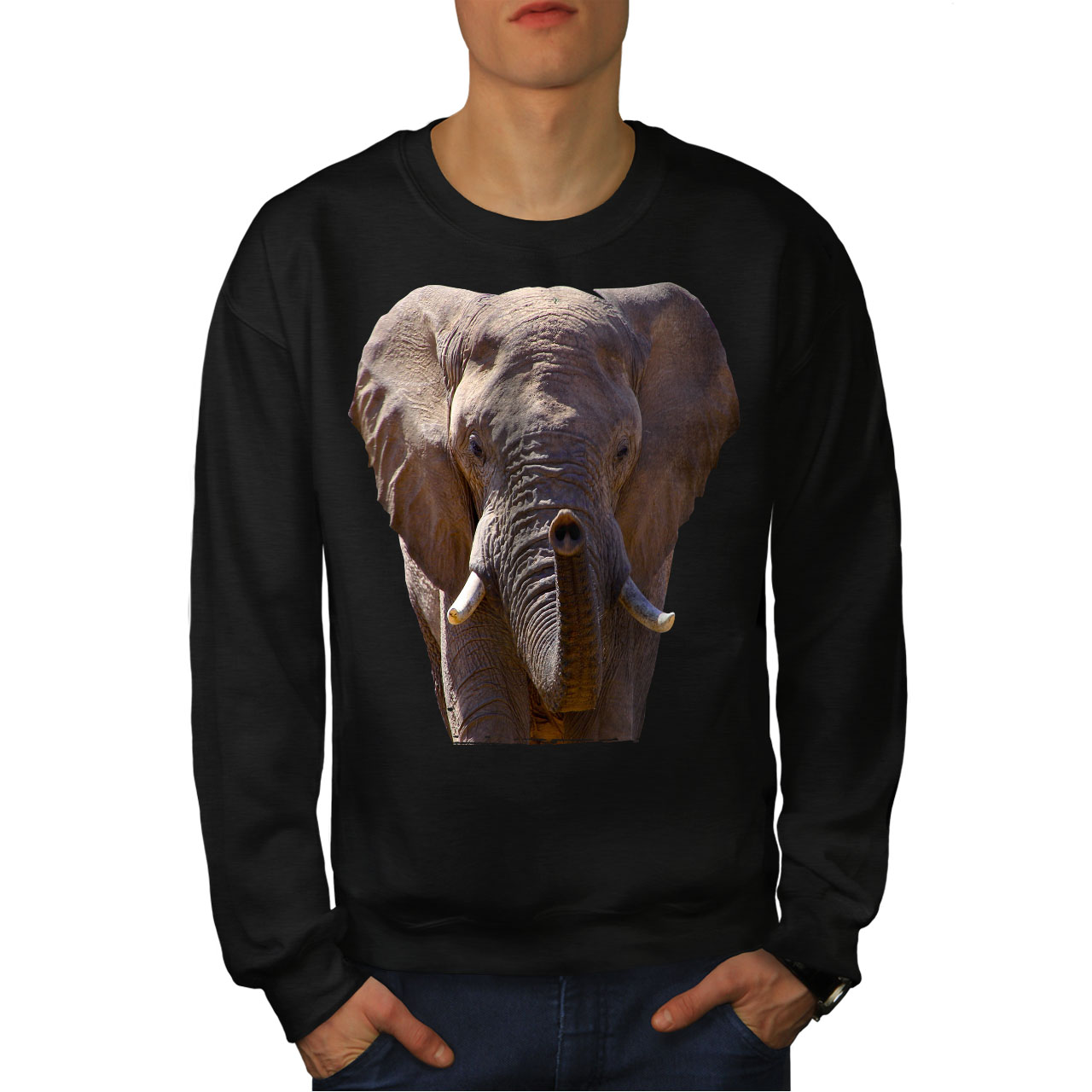 Elephant uomo Safari New Animal Felpa Black da EFUUq
