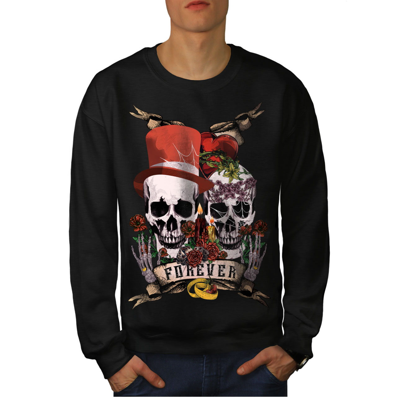 Black New Skull Love uomo Metal Felpa Forever wOU0qxB