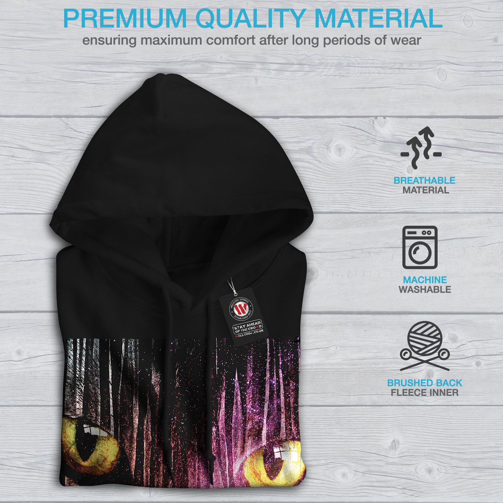 Hooded Sweatshirt Eyes Wellcoda Mens Fantasy Black Galaxy Animal Hoodie Casual 08Tq8fS