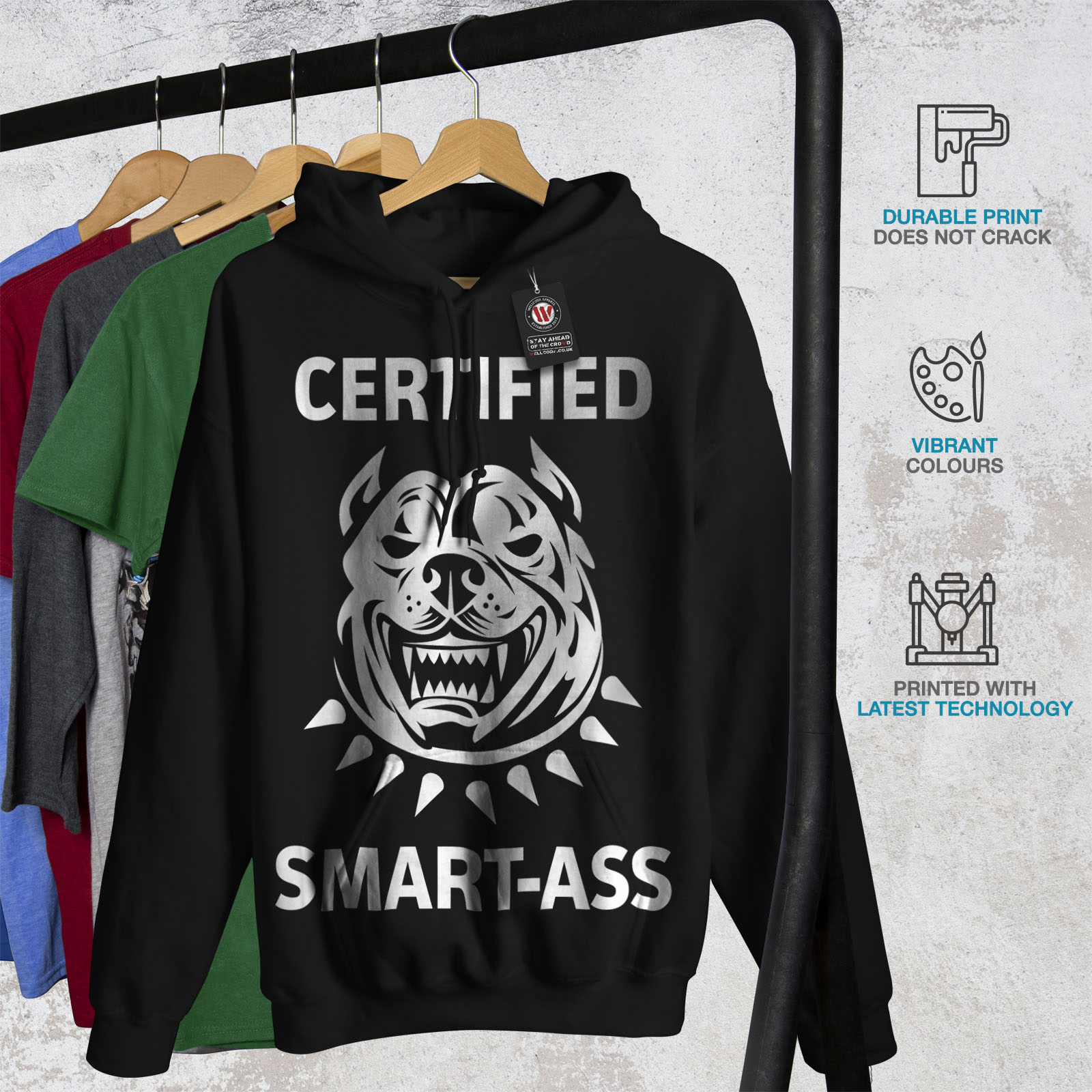 Wellcoda Smartass Bulldog Mens Hoodie Pitbull Casual Hooded Sweatshirt