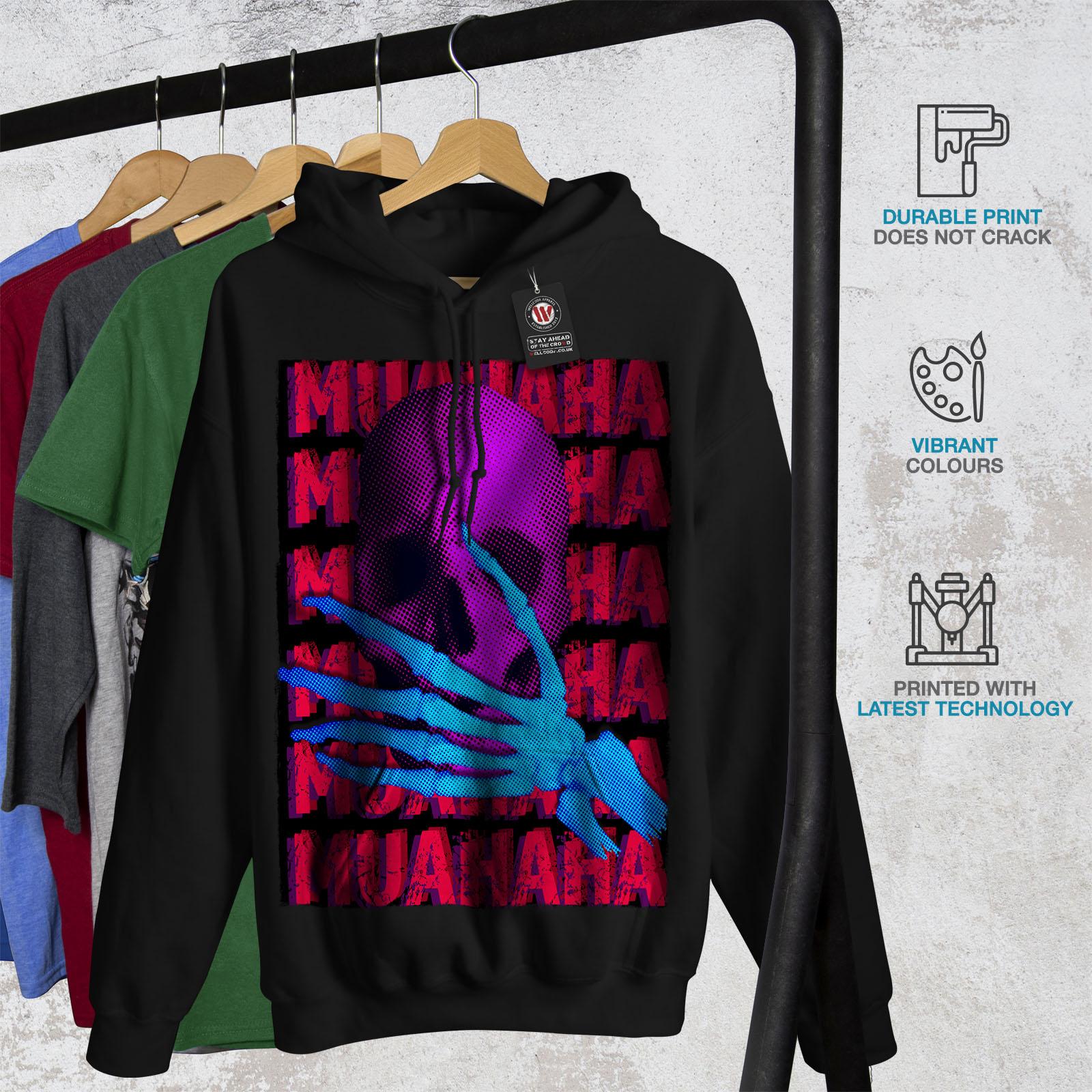 Black Casual Sweatshirt Evil Hoodie Mens Biker Laugh Skeleton Wellcoda Hooded ngC1qfOH