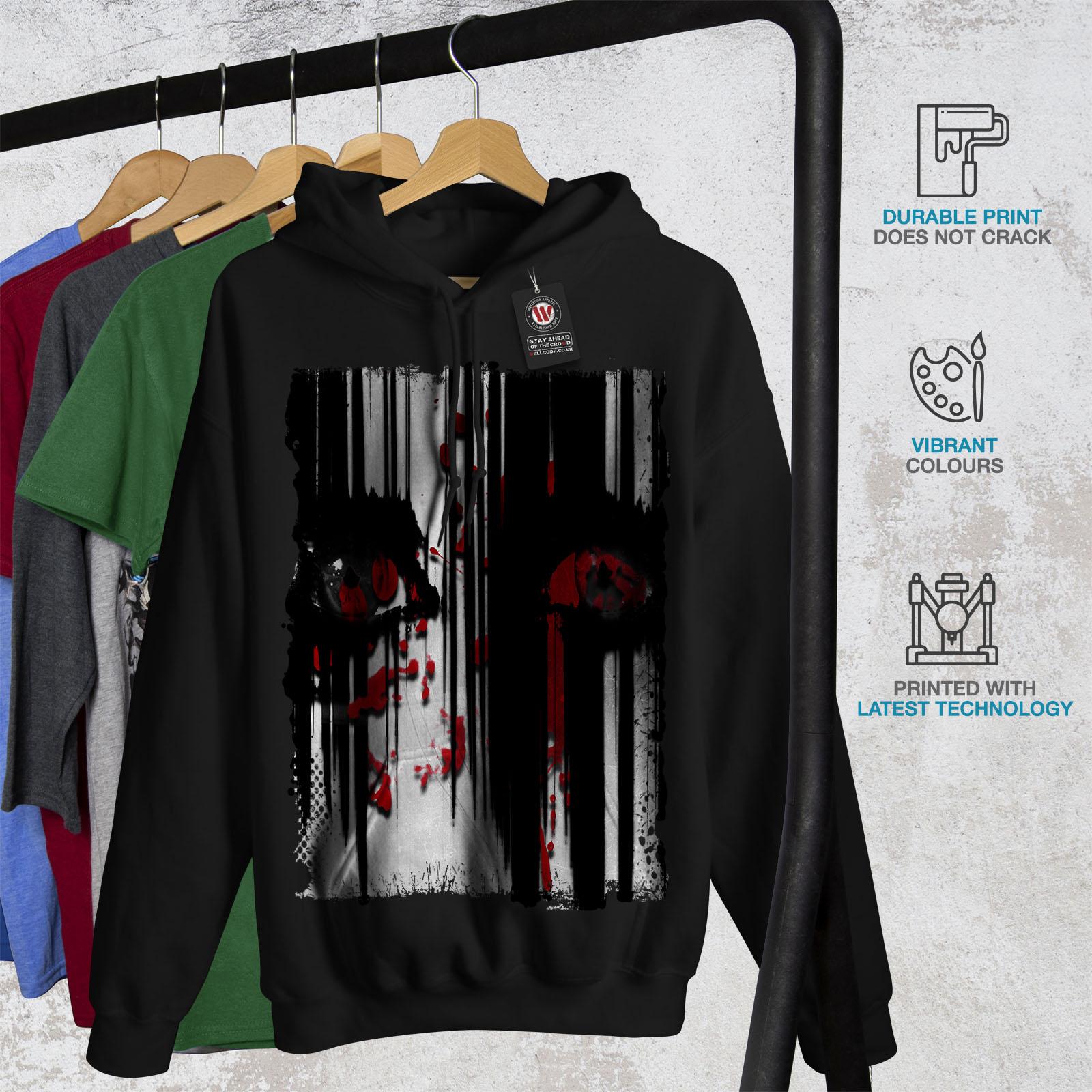 Wellcoda Eyes Scary Creepy Mens Hoodie Human Casual Hooded Sweatshirt