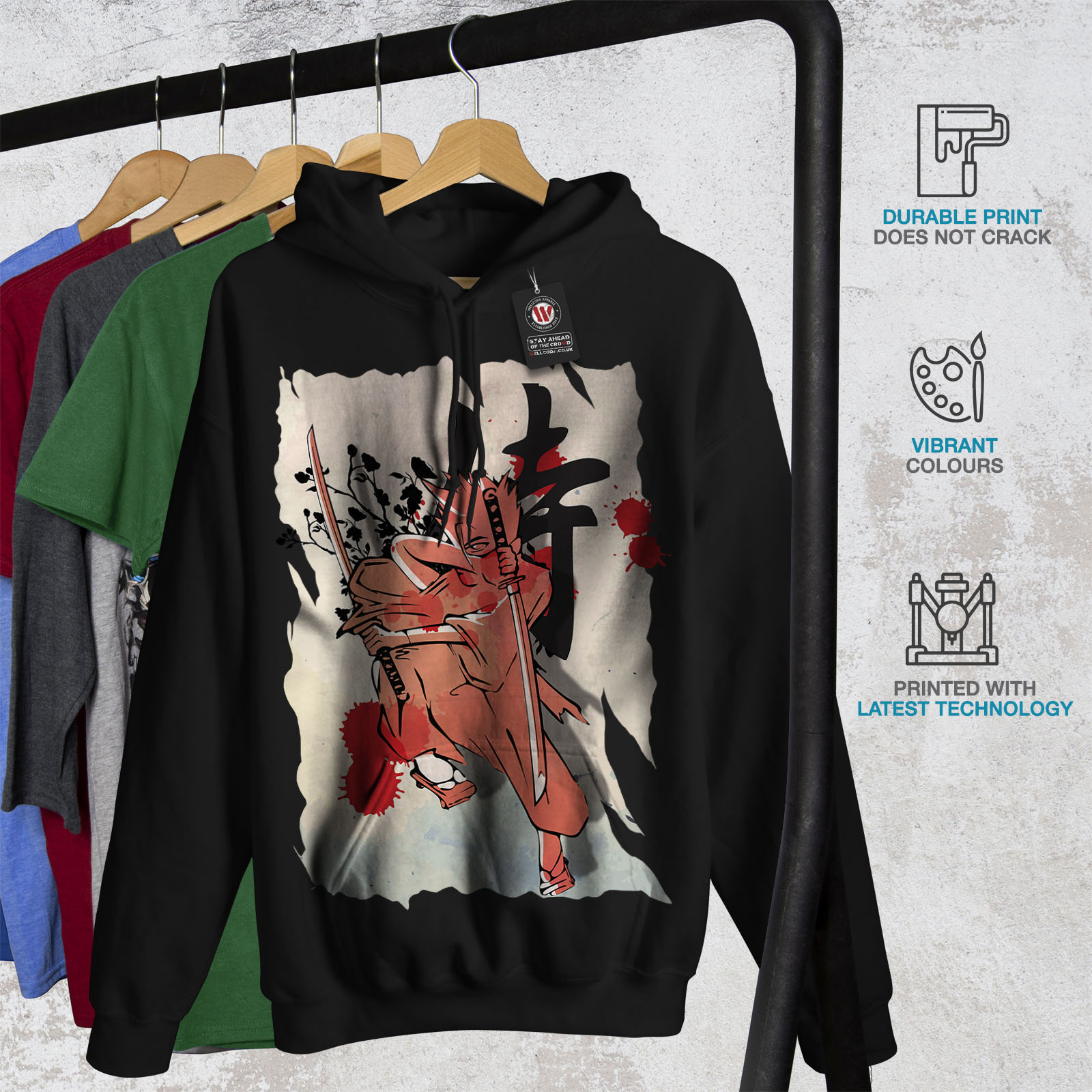 Anime Hooded Sweatshirt Black Hoodie Mens New Casual Wellcoda t7Xq1R4t