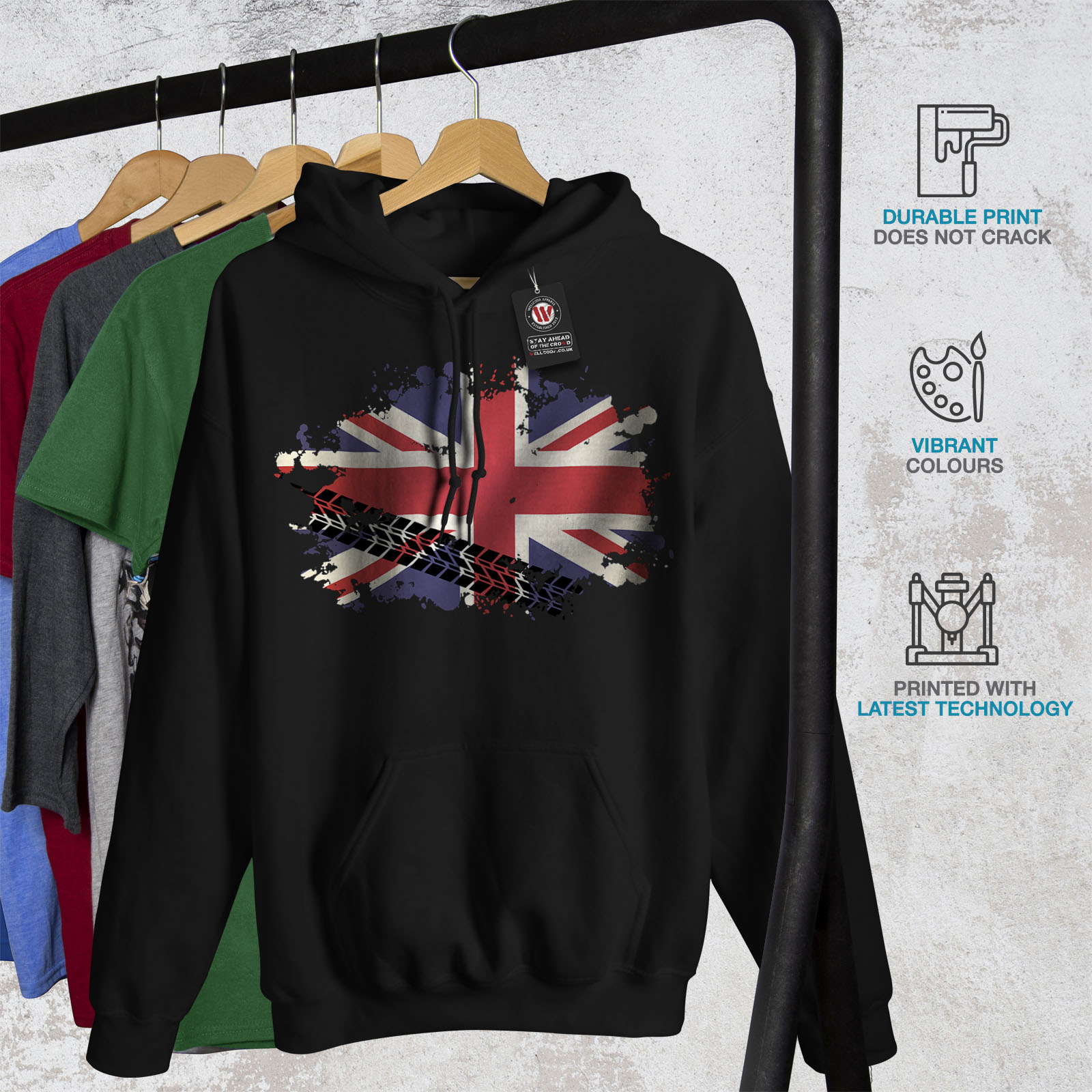Union-Jack-Bandera-Sudadera-con-capucha-para-hombre-wellcoda-Gran-Bretana-Informal-Con-capucha miniatura 7
