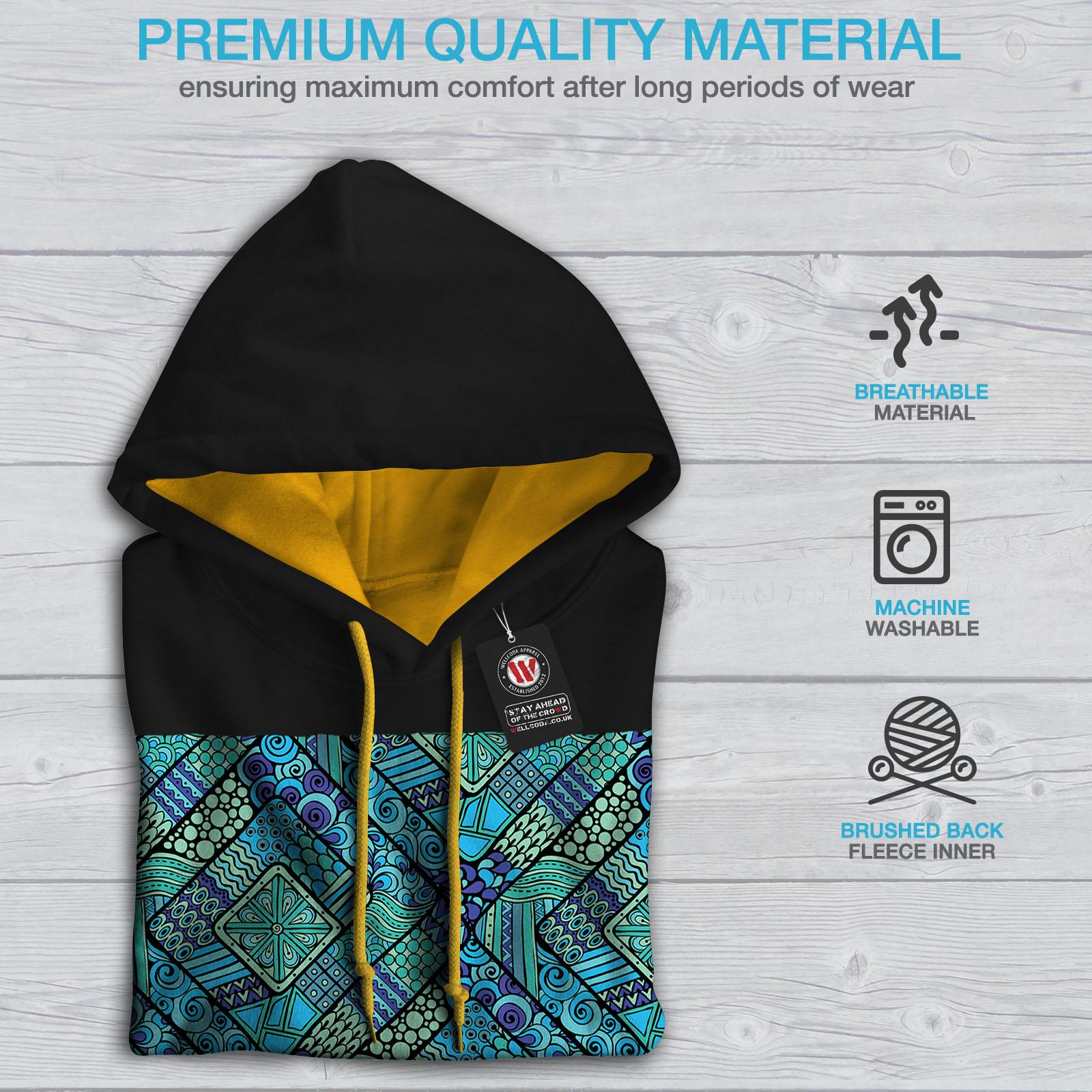 Black Psychodelic Jumper gold Hoodie Colors Hood Wellcoda Mens Contrast Pattern Casual 8wxA6q1