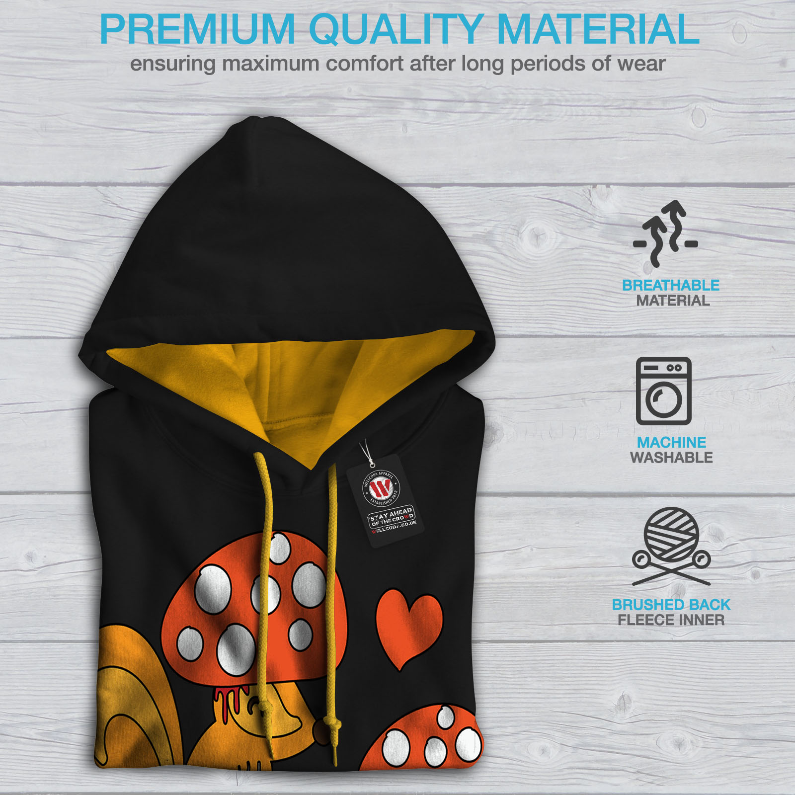 Funny Black Squirrel Cool Mens Hoodie Fake Casual Hood Contrast Wellcoda Jumper gold aECRnxSR