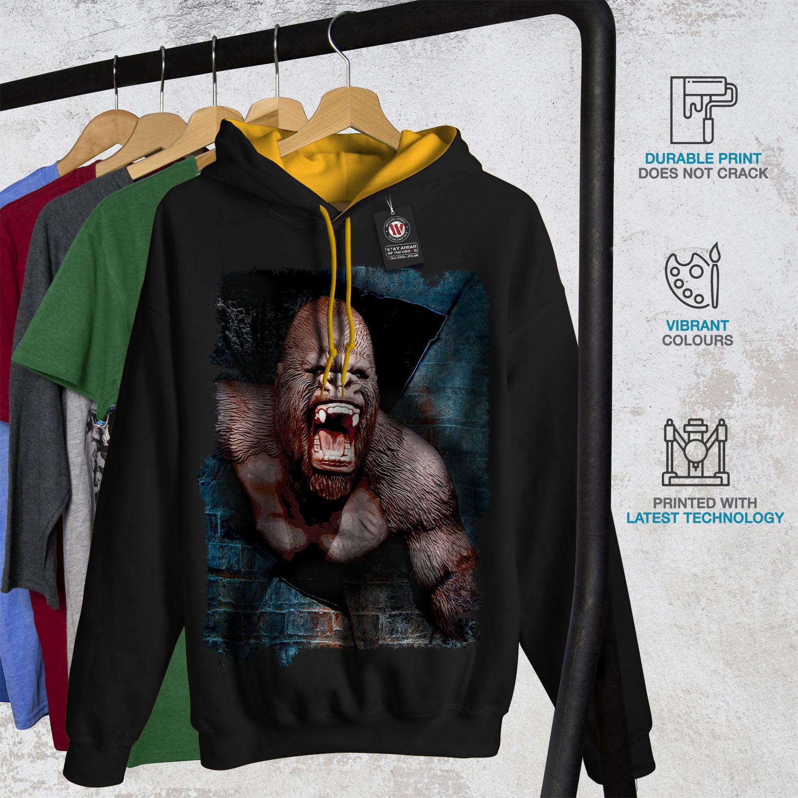 Hood Mens Hoodie Black Jumper Wellcoda Monkey Contrast gold Casual Animal Izxwngaf