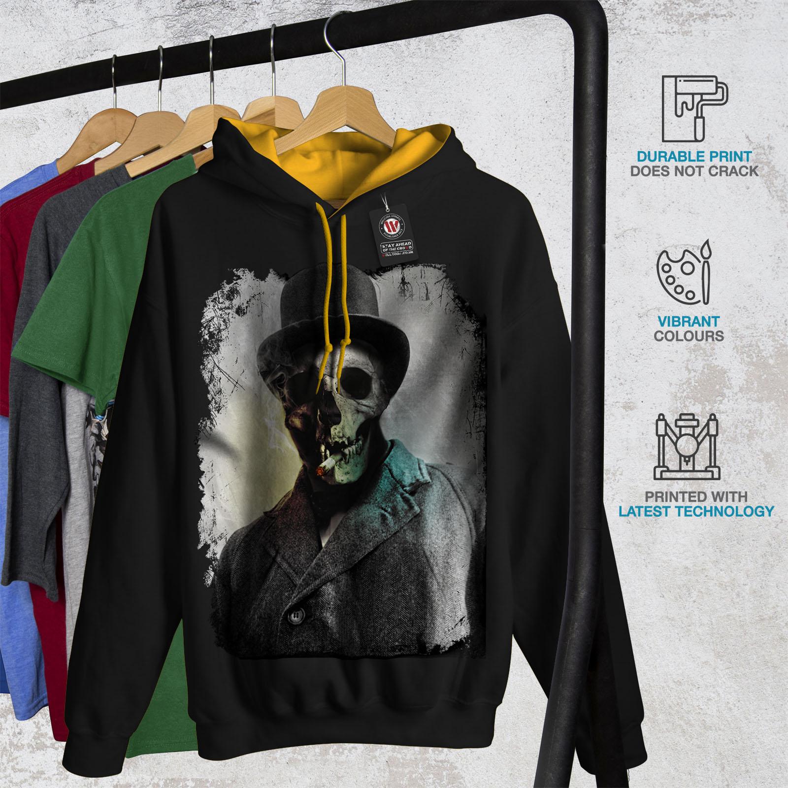 Skull Black gold Hoodie Hood Street Wellcoda Smoking Jumper Contrast Casual Skeleton Mens UBxxOzEq