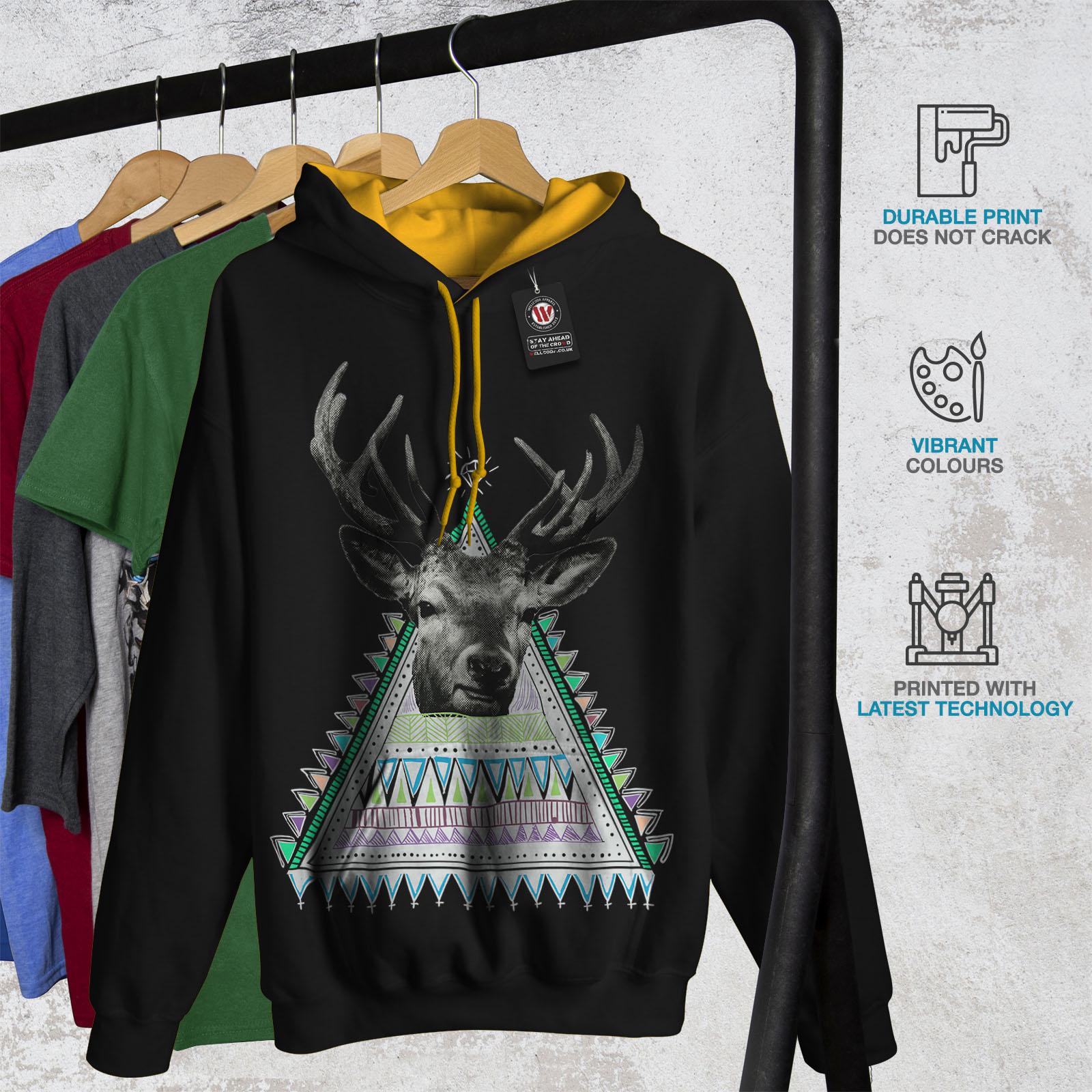 Jumper Wellcoda Triangle Animal Casual Hood Black gold Hoodie Deer Mens Contrast d60rn6fWZ