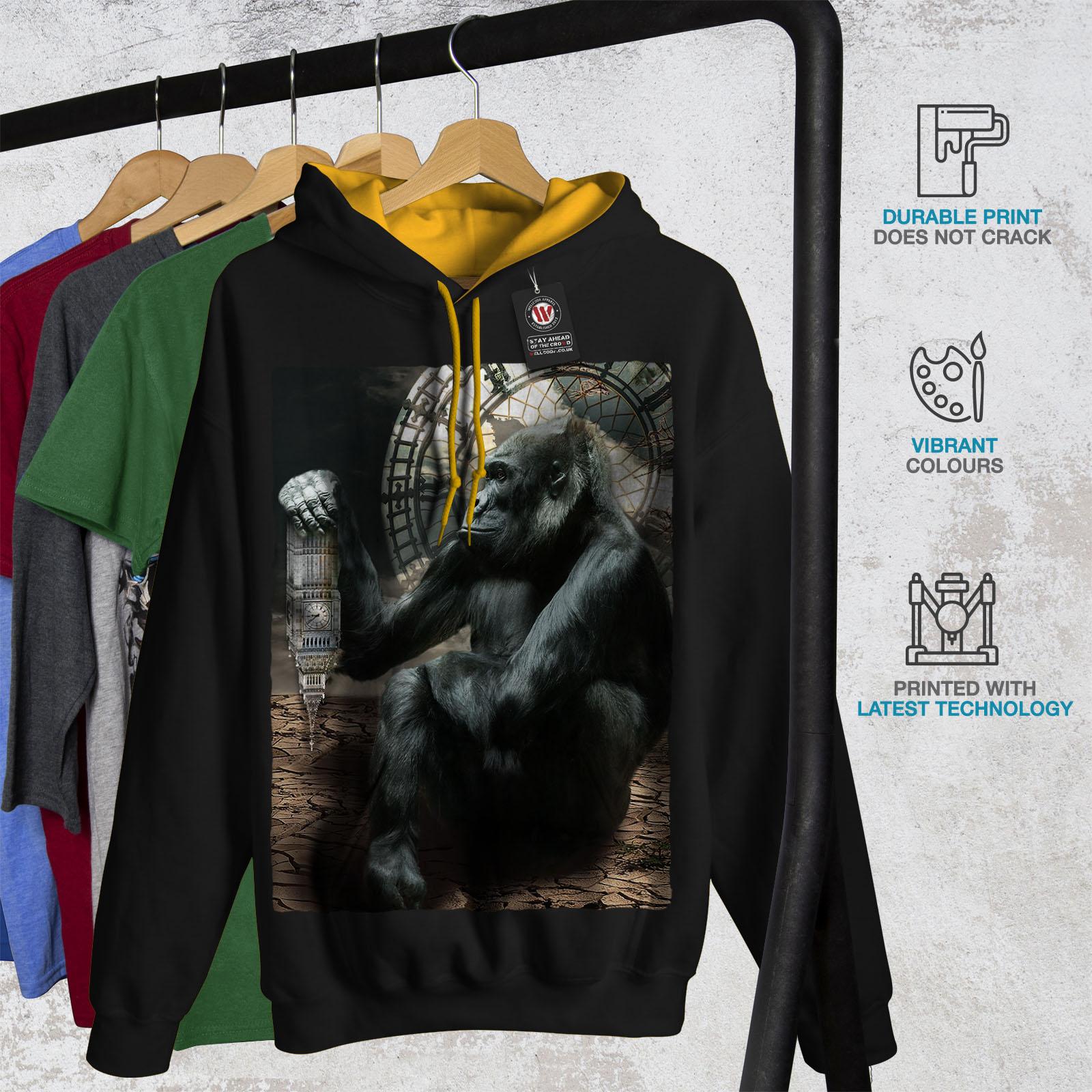 Uk nera cappuccio Maglia oro a cappuccio casual Tower Wellcoda Felpa Monkey contrasto con uomo 8T5nnPqw