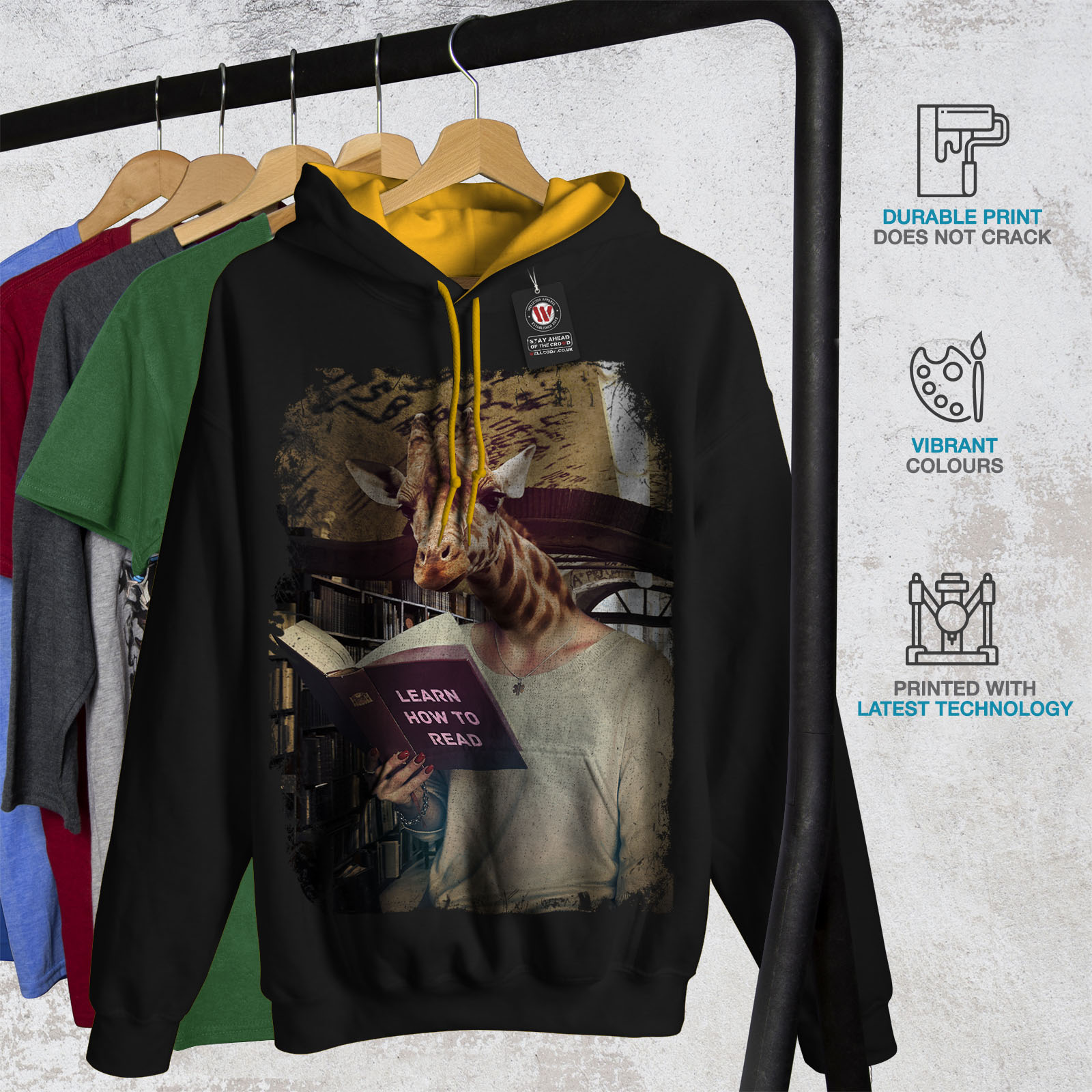 Wild Hood Contrast Hoodie Geek Jumper Animal Wellcoda Mens Giraffe gold Casual Black nwPpqYpBx