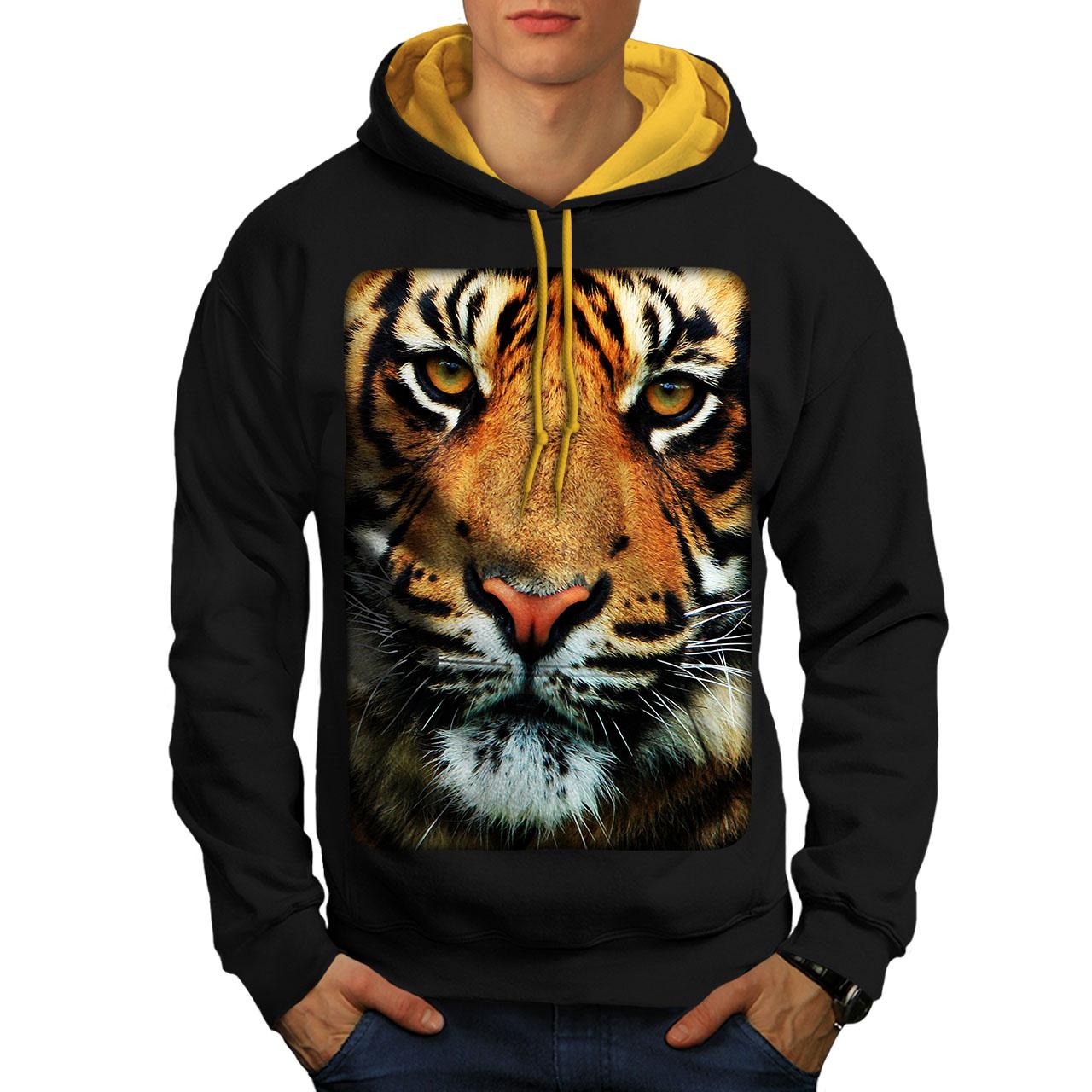 Cartoon Animal Casual Jumper Wellcoda Wild Tiger Mens Contrast Hoodie