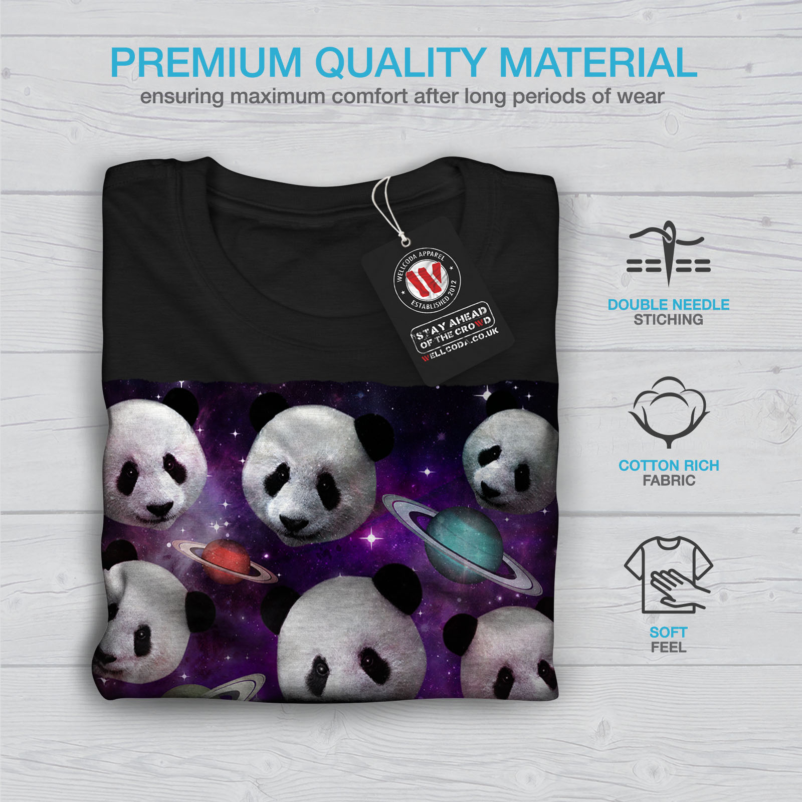 Universe Graphic Design Printed Tee Wellcoda Panda Face Space Mens T-shirt