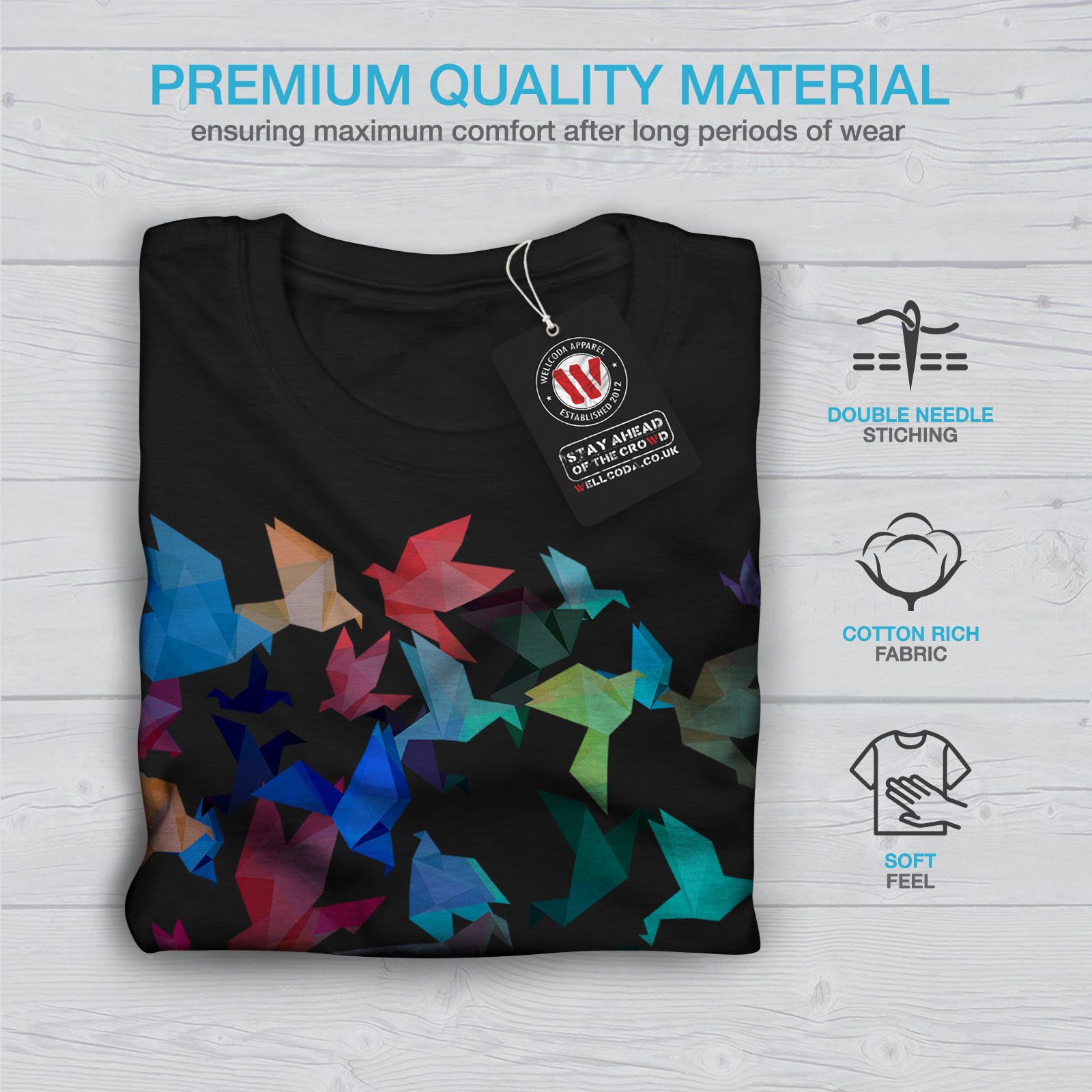 Wellcoda-Origami-Bird-Colors-Mens-T-shirt-Craft-Graphic-Design-Printed-Tee thumbnail 7