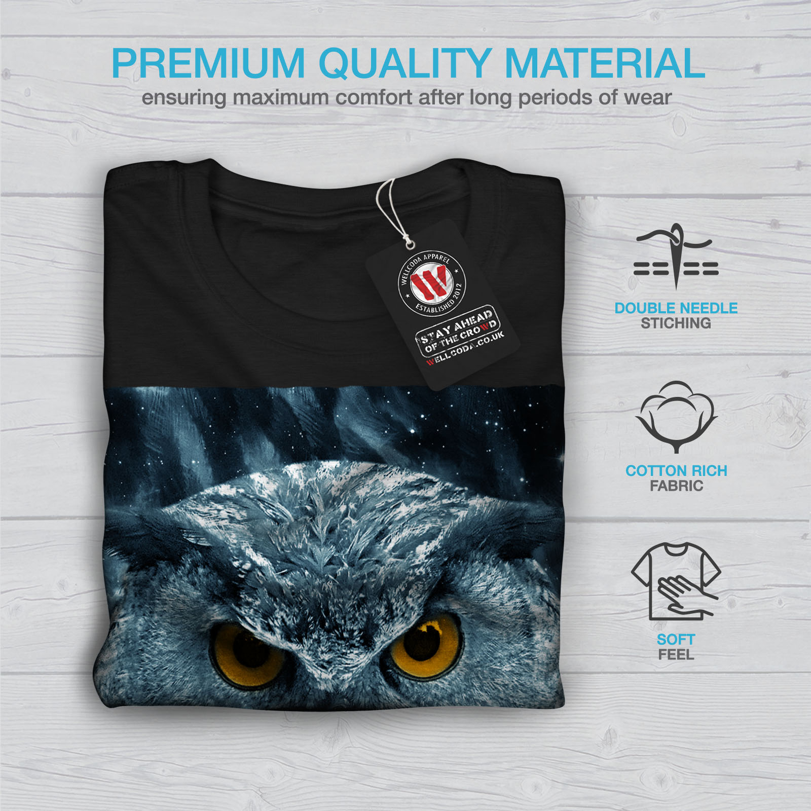 miniature 7 - Wellcoda-Wild-Looking-Owl-Mens-T-shirt-Mother-Graphic-Design-Printed-Tee