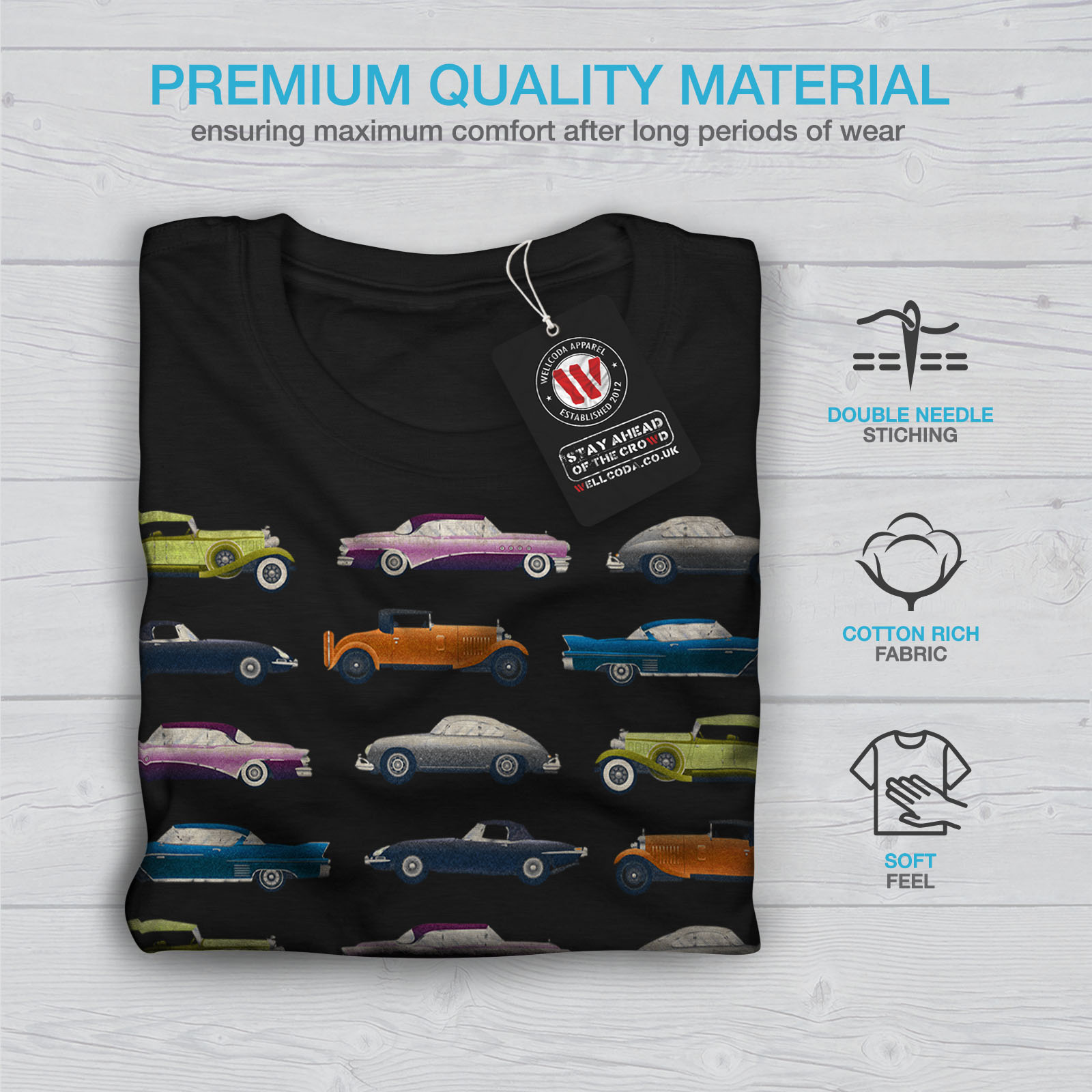 Wellcoda-Classic-Old-Pattern-Car-Mens-T-shirt-Retro-Graphic-Design-Printed-Tee thumbnail 7