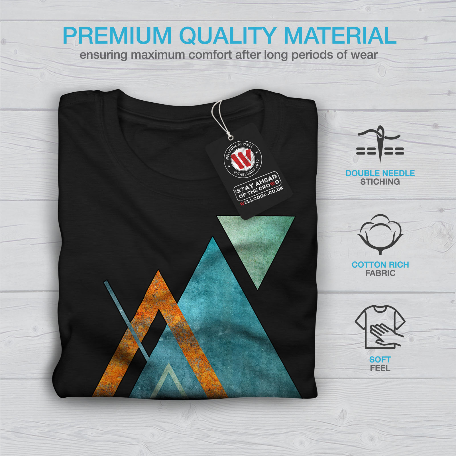 Wellcoda-Abstract-Triangle-T-shirt-homme-forme-design-graphique-imprime-Tee miniature 7
