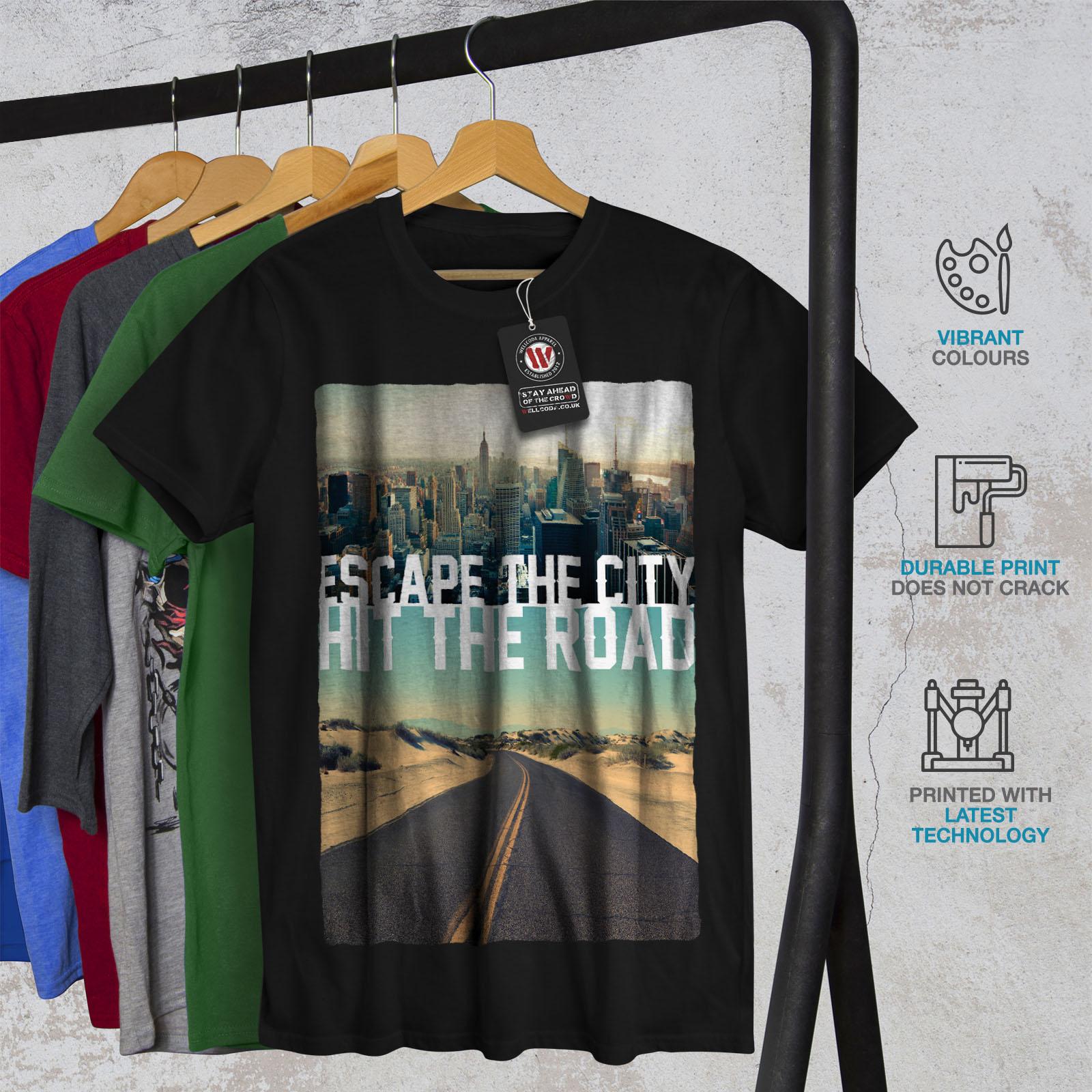 Wellcoda-Escape-The-City-Herren-T-Shirt-Lifestyle-Grafikdesign-Printed-Tee Indexbild 6
