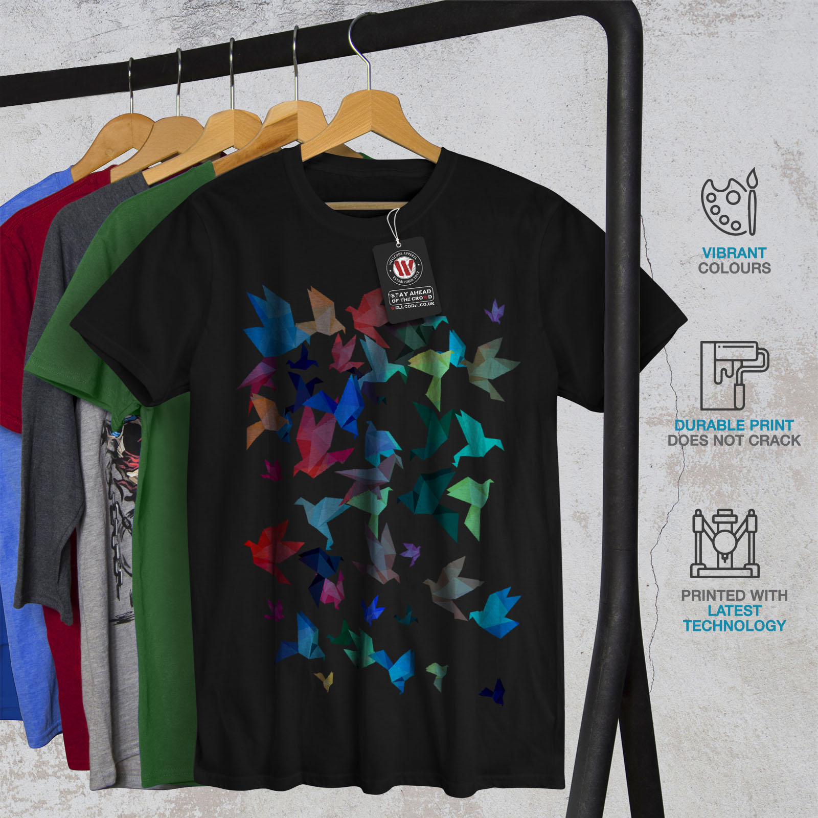 Wellcoda-Origami-Bird-Colors-Mens-T-shirt-Craft-Graphic-Design-Printed-Tee thumbnail 6