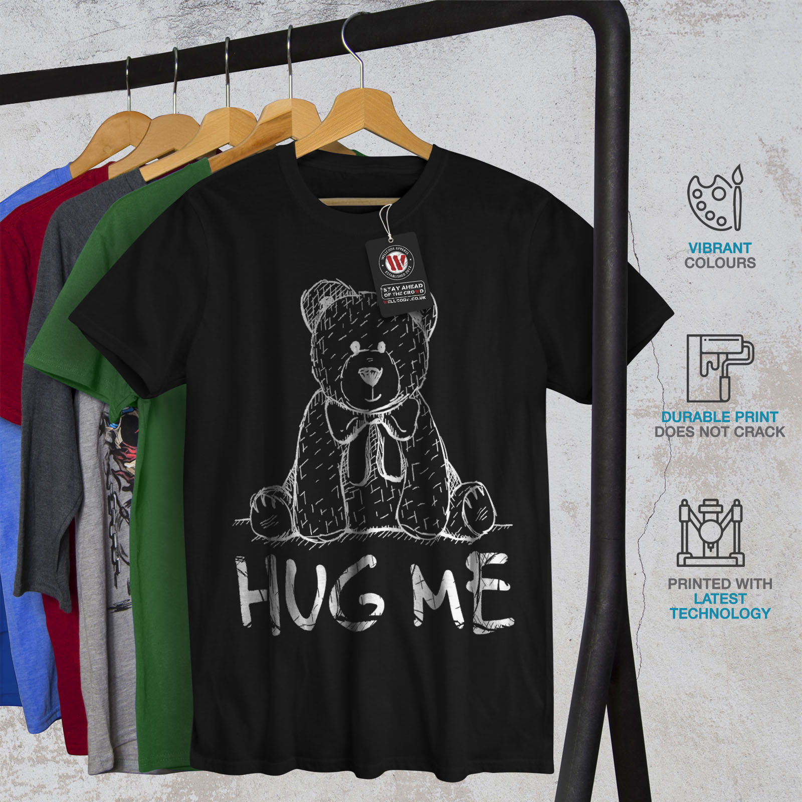 miniature 6 - Wellcoda Hug Me Teddy Bear Mens T-shirt, Nice & Graphic Design Printed Tee