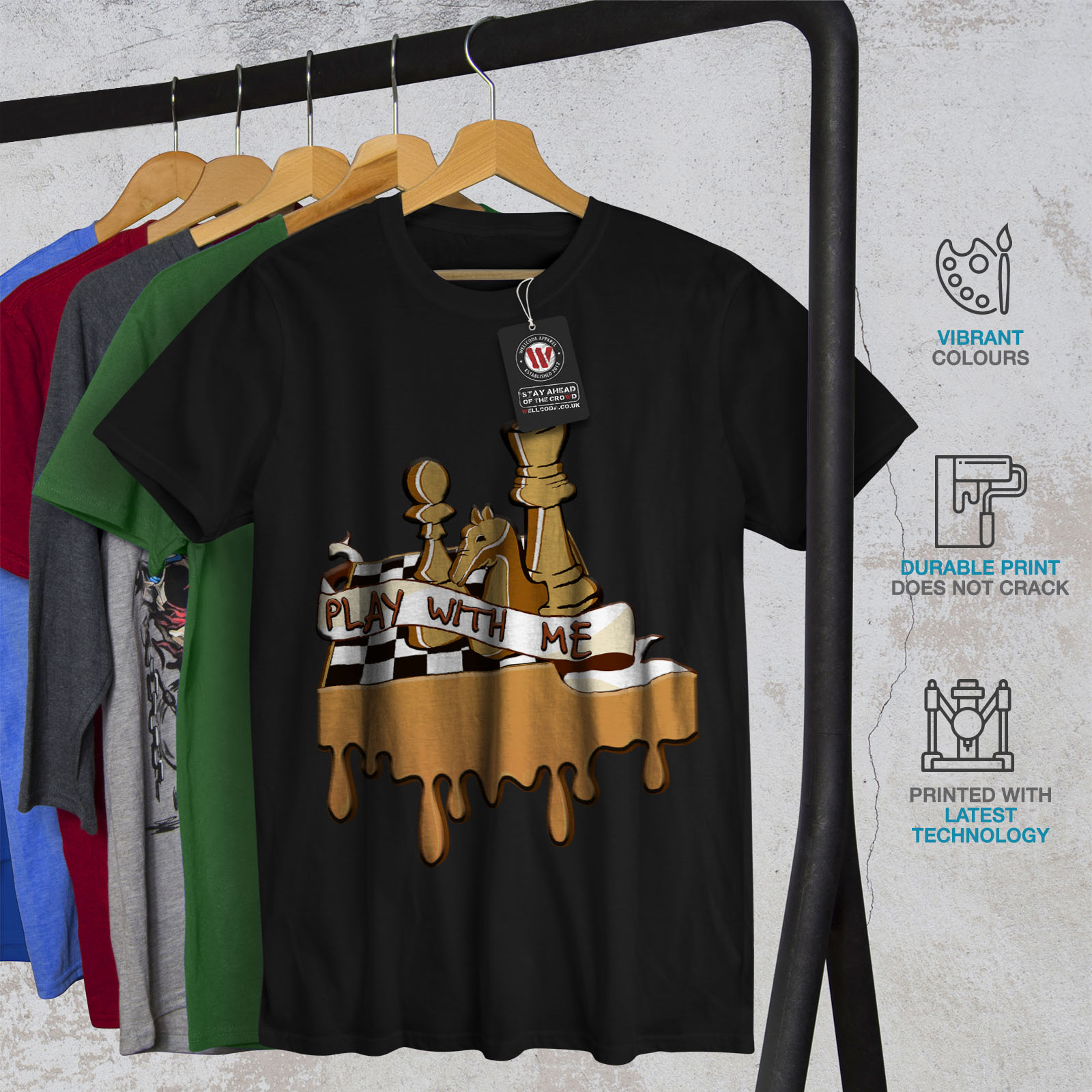 fae8b00d9 Wellcoda Play Chess With Me Mens T-shirt, Game Graphic Design ...