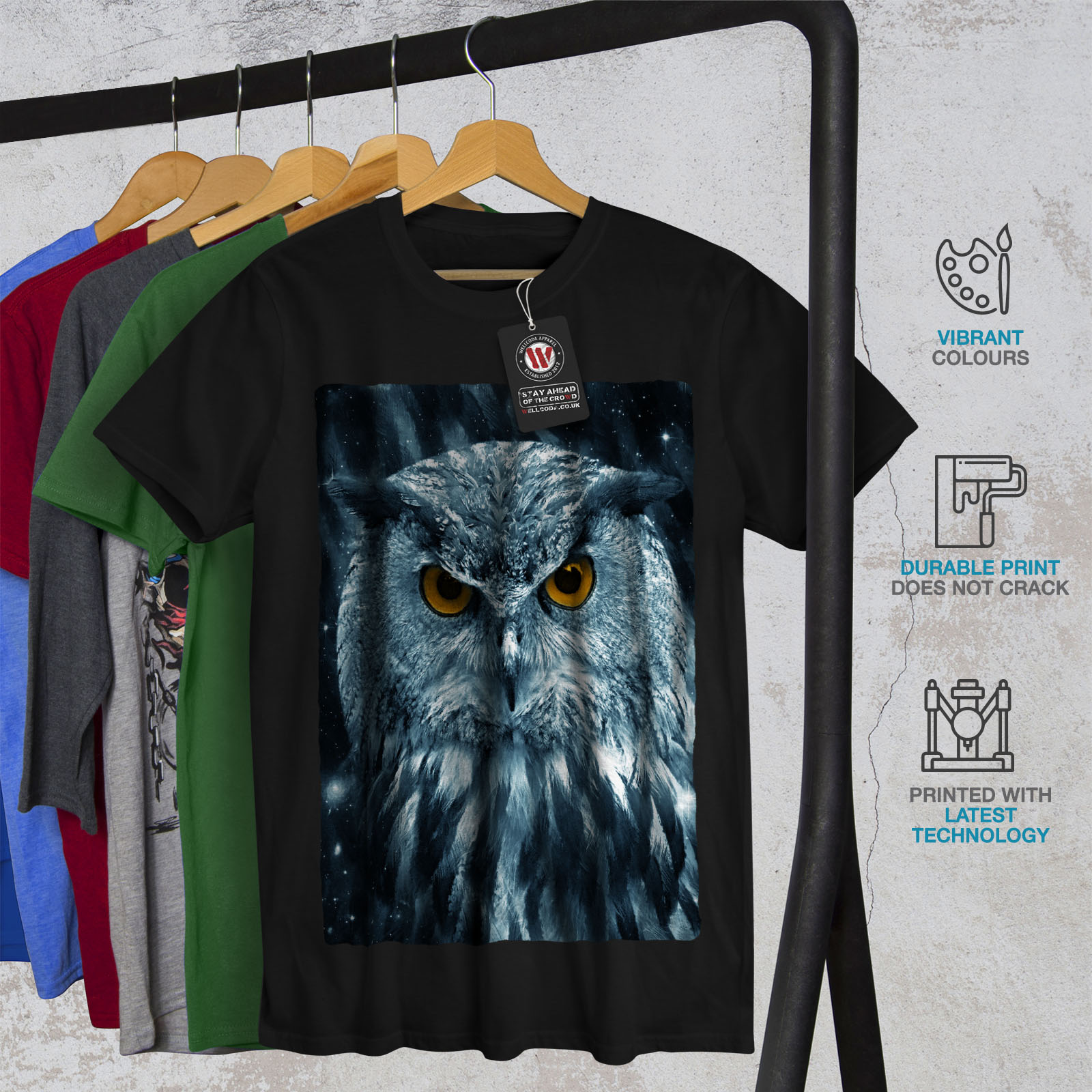 miniature 6 - Wellcoda-Wild-Looking-Owl-Mens-T-shirt-Mother-Graphic-Design-Printed-Tee